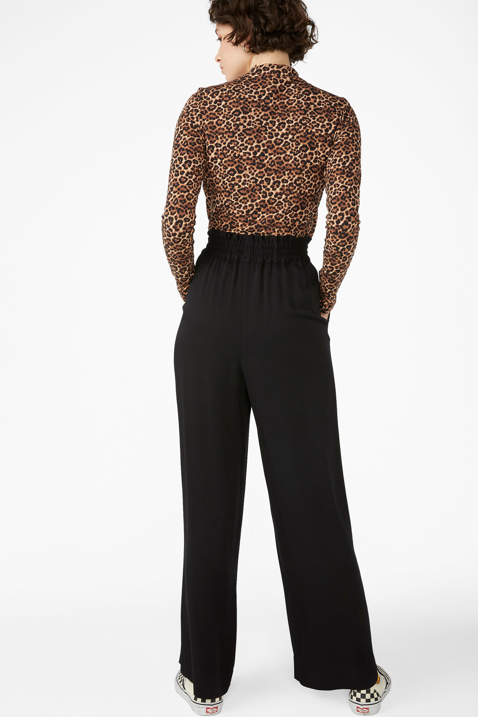 Model back image of Monki luxe viscose trousers in black