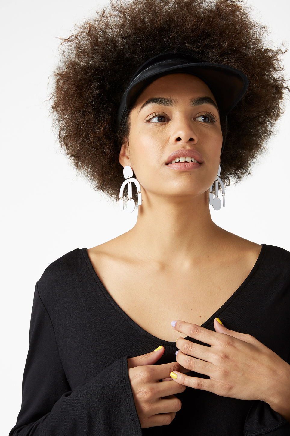 Model front image of Monki irregular steel earrings in white