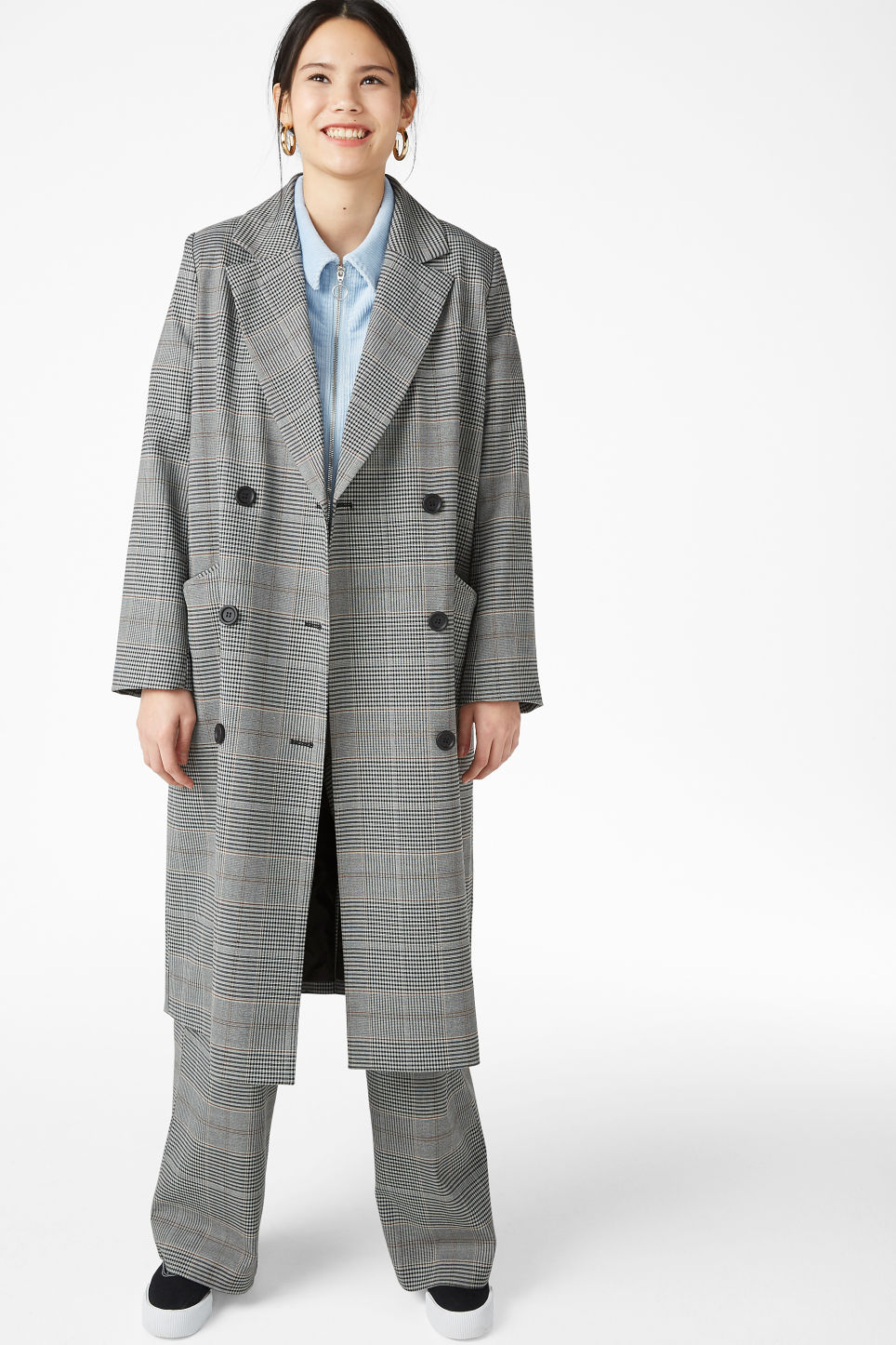 Model front image of Monki double-breasted coat in grey