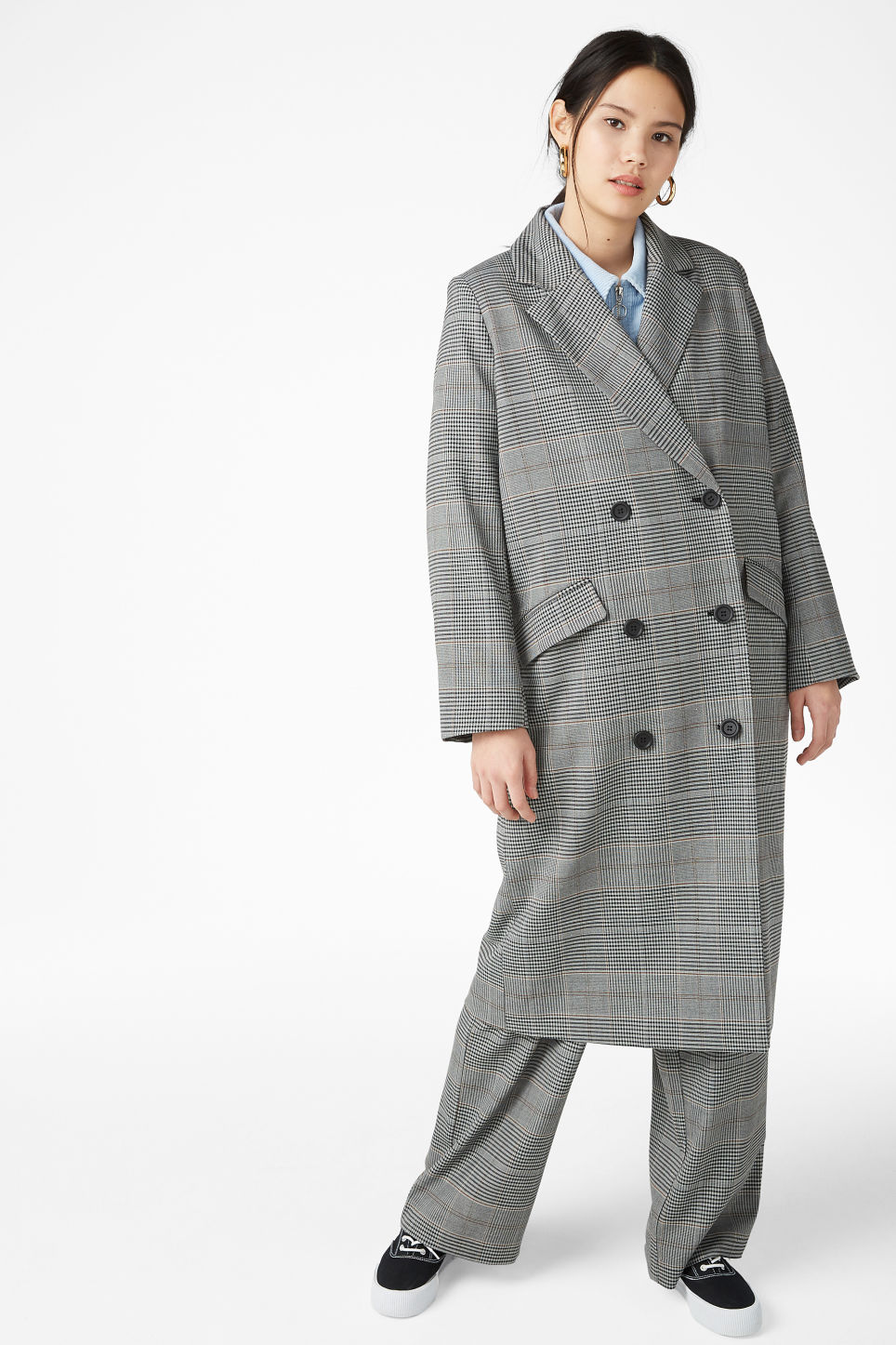 Model side image of Monki double-breasted coat in grey