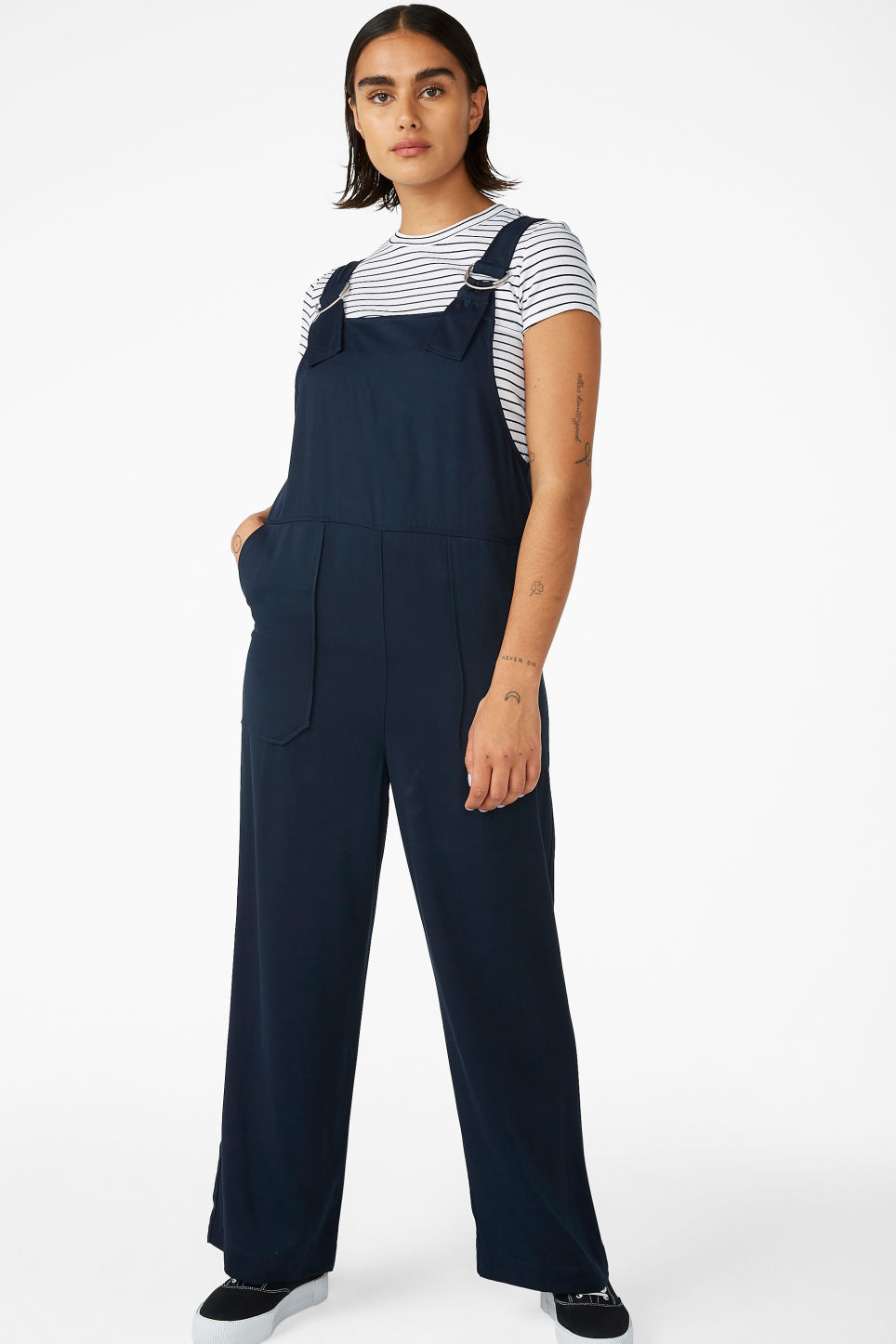Model front image of Monki minimalistic jumpsuit in blue