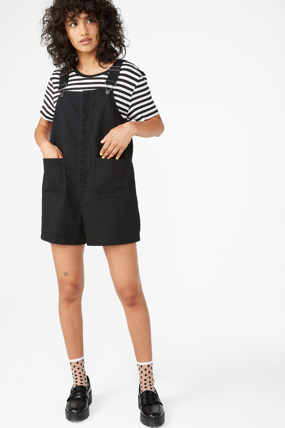 Model front image of Monki dungaree playsuit in black