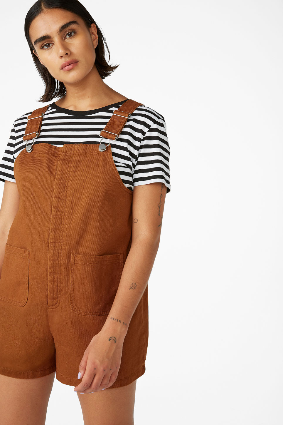 Model front image of Monki dungaree playsuit in orange