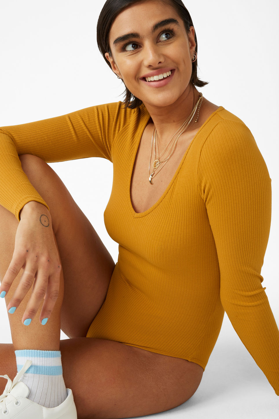 Model front image of Monki ribbed long-sleeved body in yellow