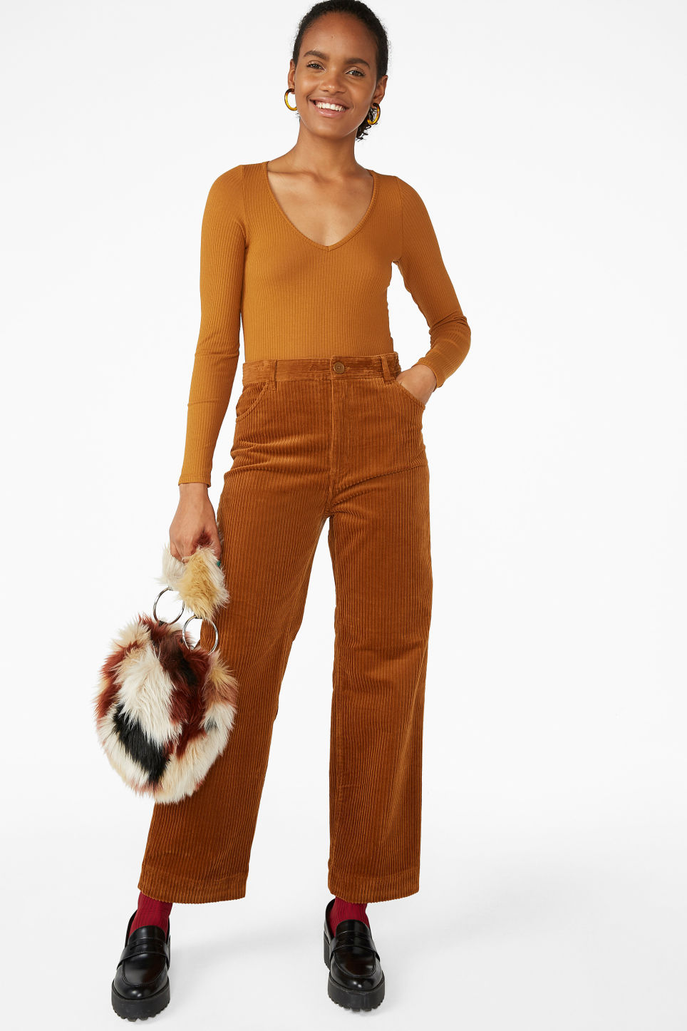 Model front image of Monki ribbed long-sleeved body in orange