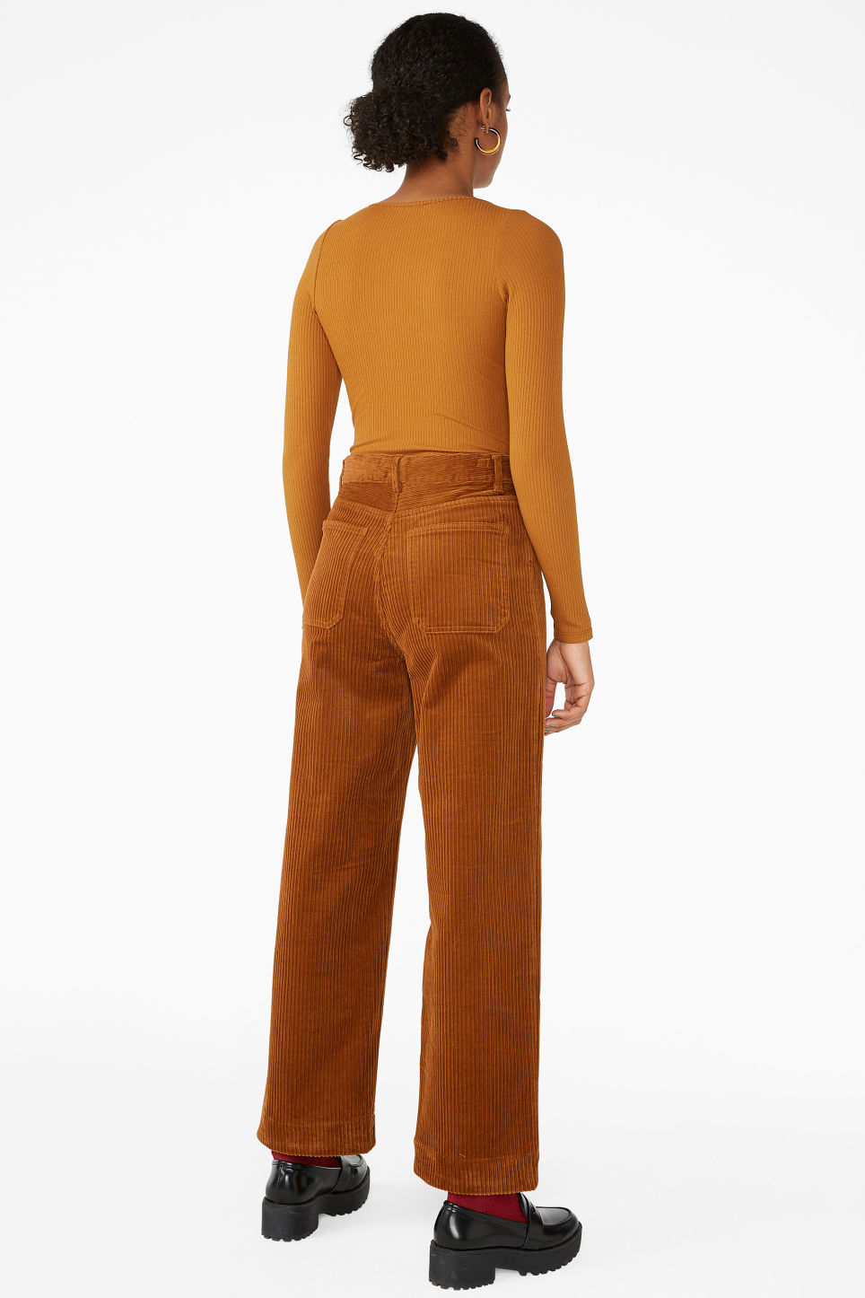Model back image of Monki ribbed long-sleeved body in orange