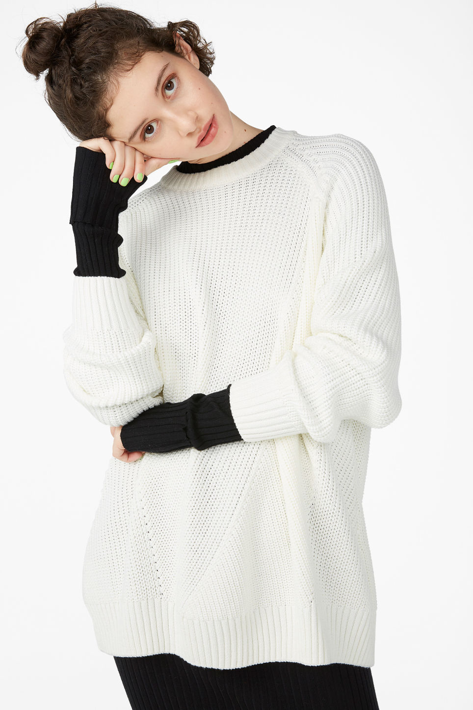Model front image of Monki thick knit sweater in white