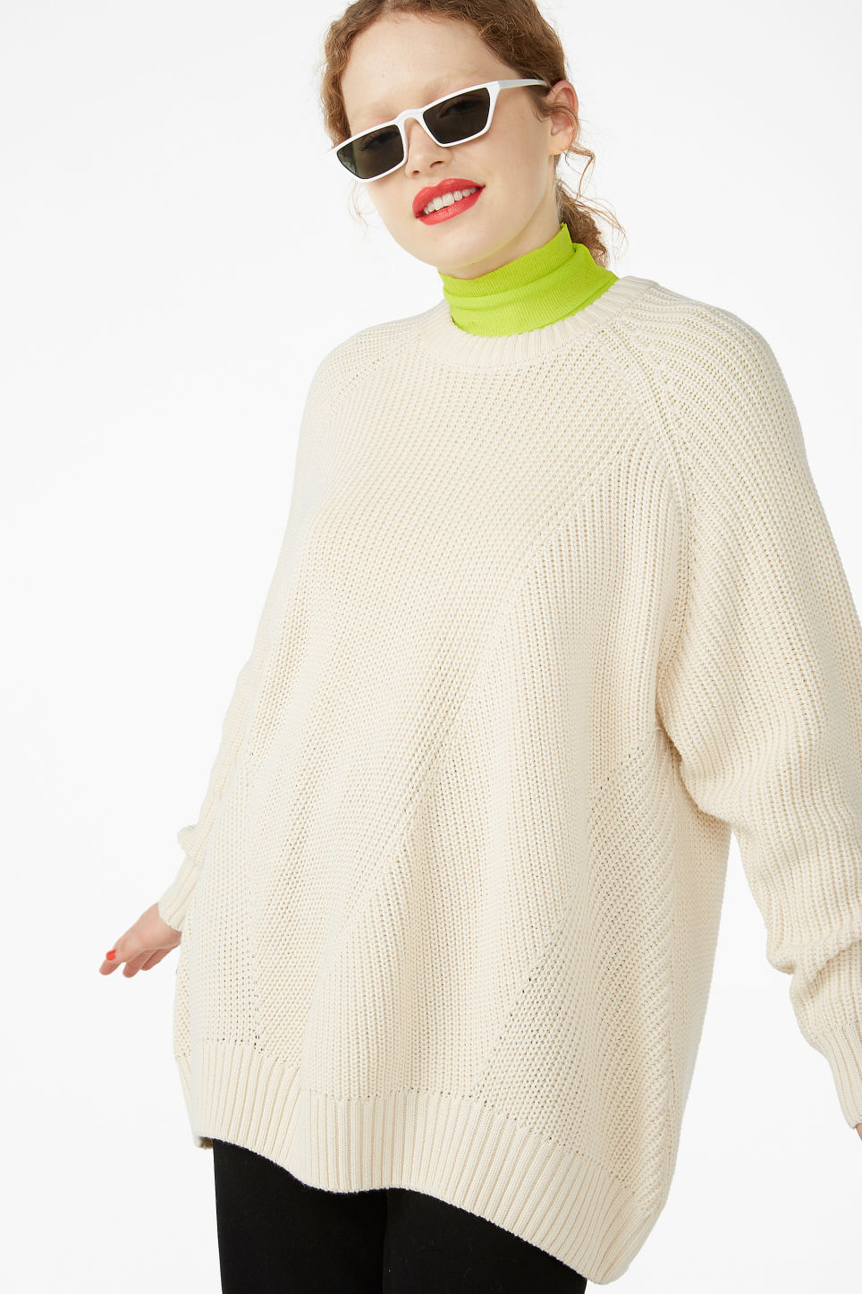 Model front image of Monki thick knit sweater in beige