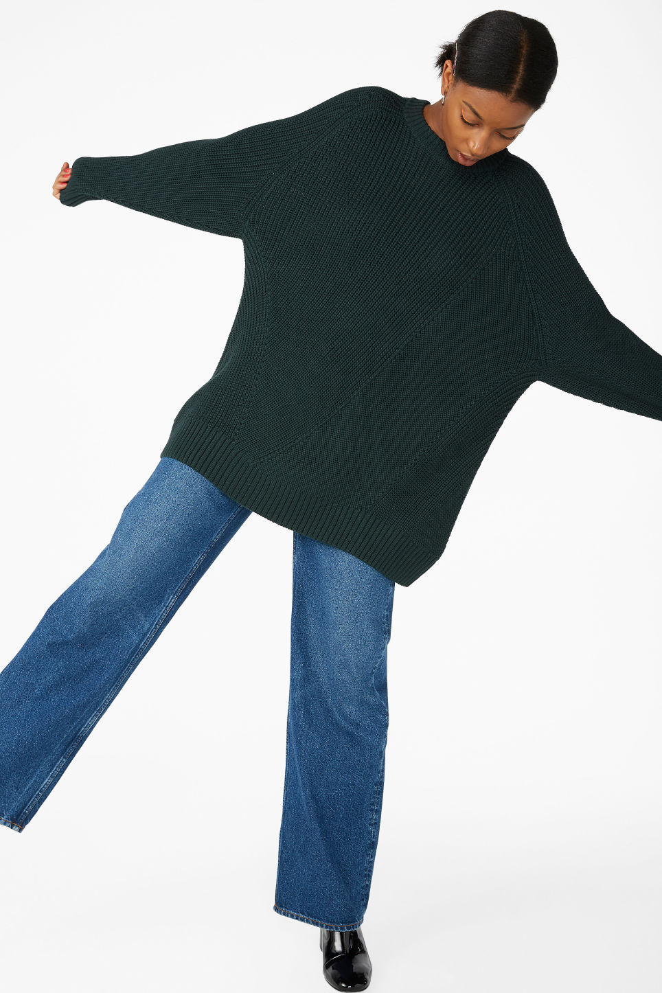 Model front image of Monki thick knit sweater in green