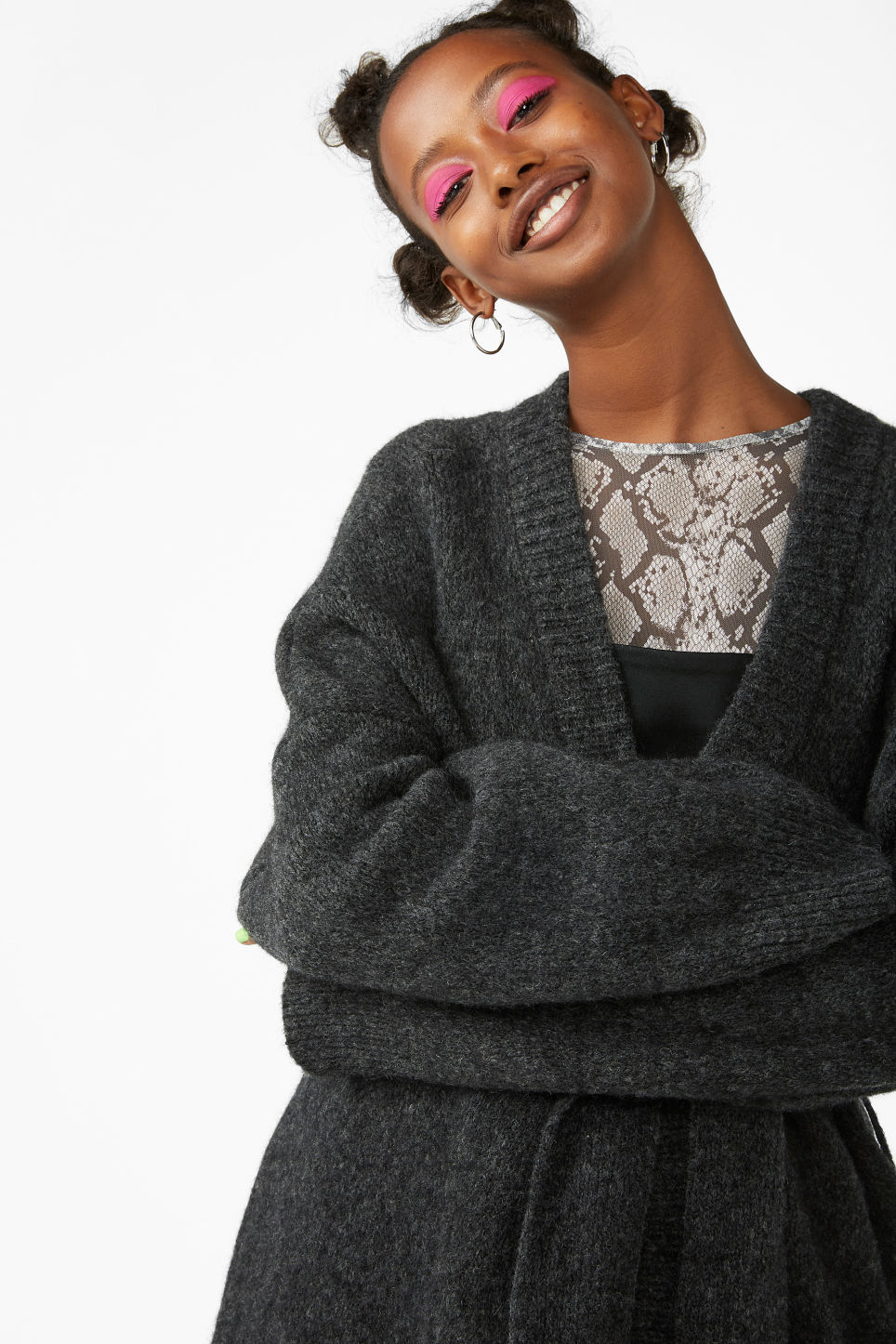 Model front image of Monki long belted cardigan in black