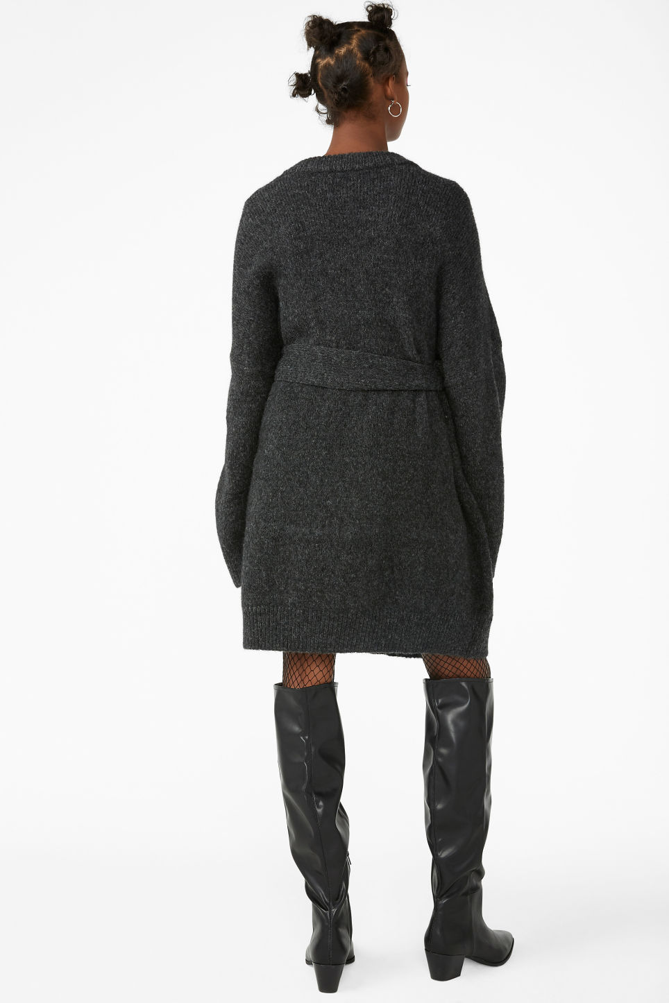 Model back image of Monki long belted cardigan in black