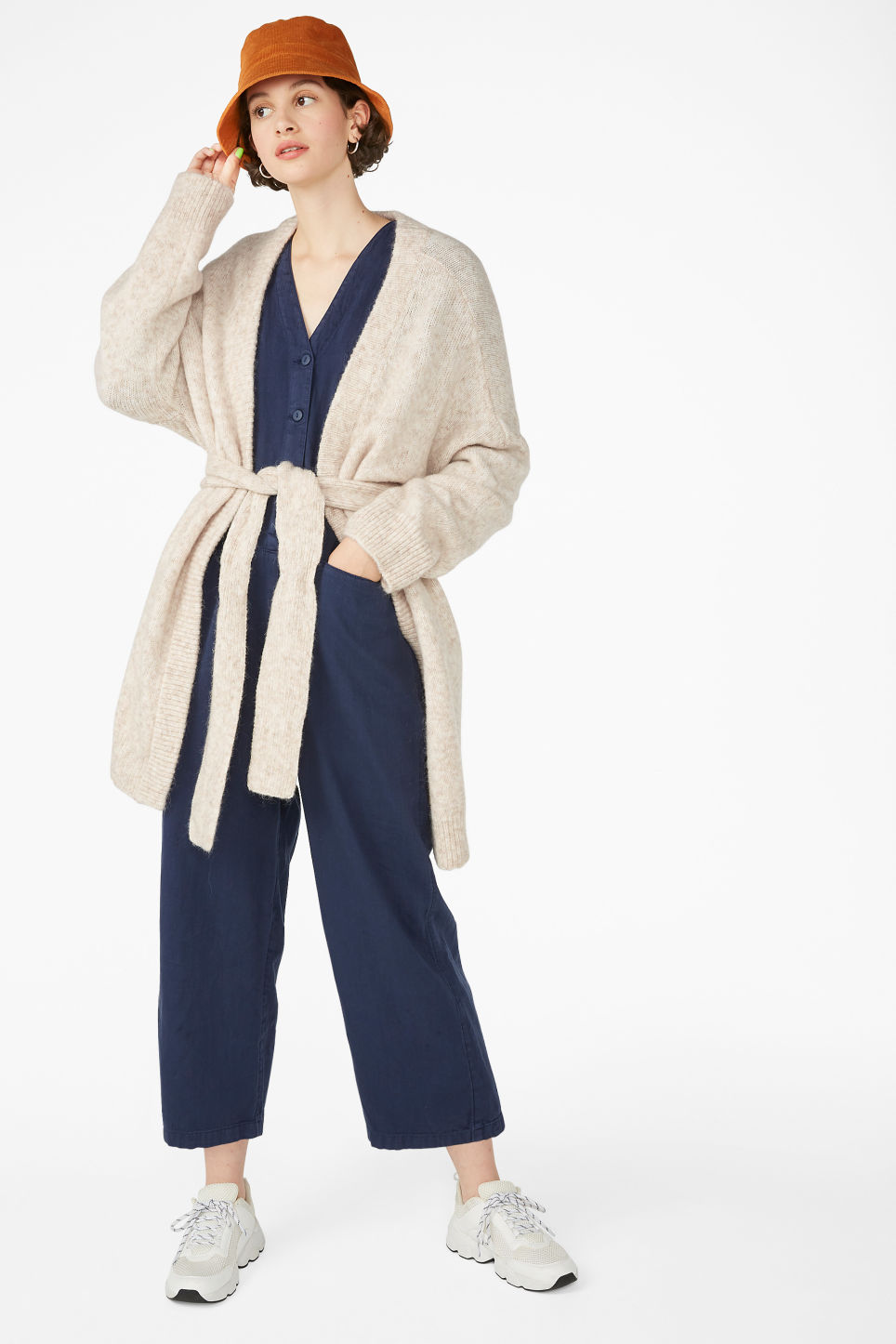 Model front image of Monki long belted cardigan in white