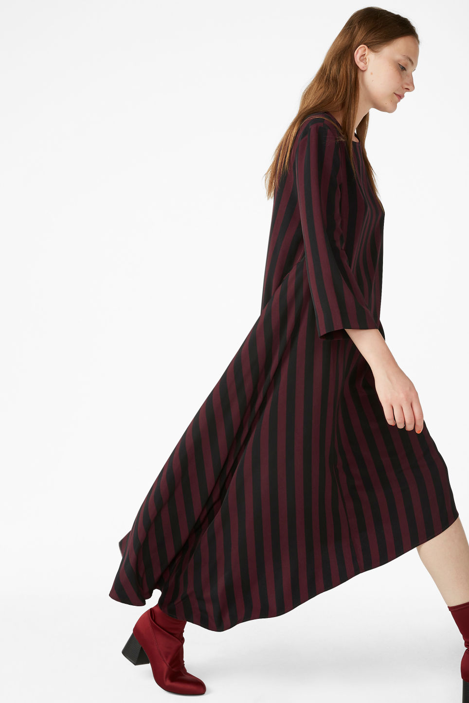 Model front image of Monki asymetrical maxi dress in red
