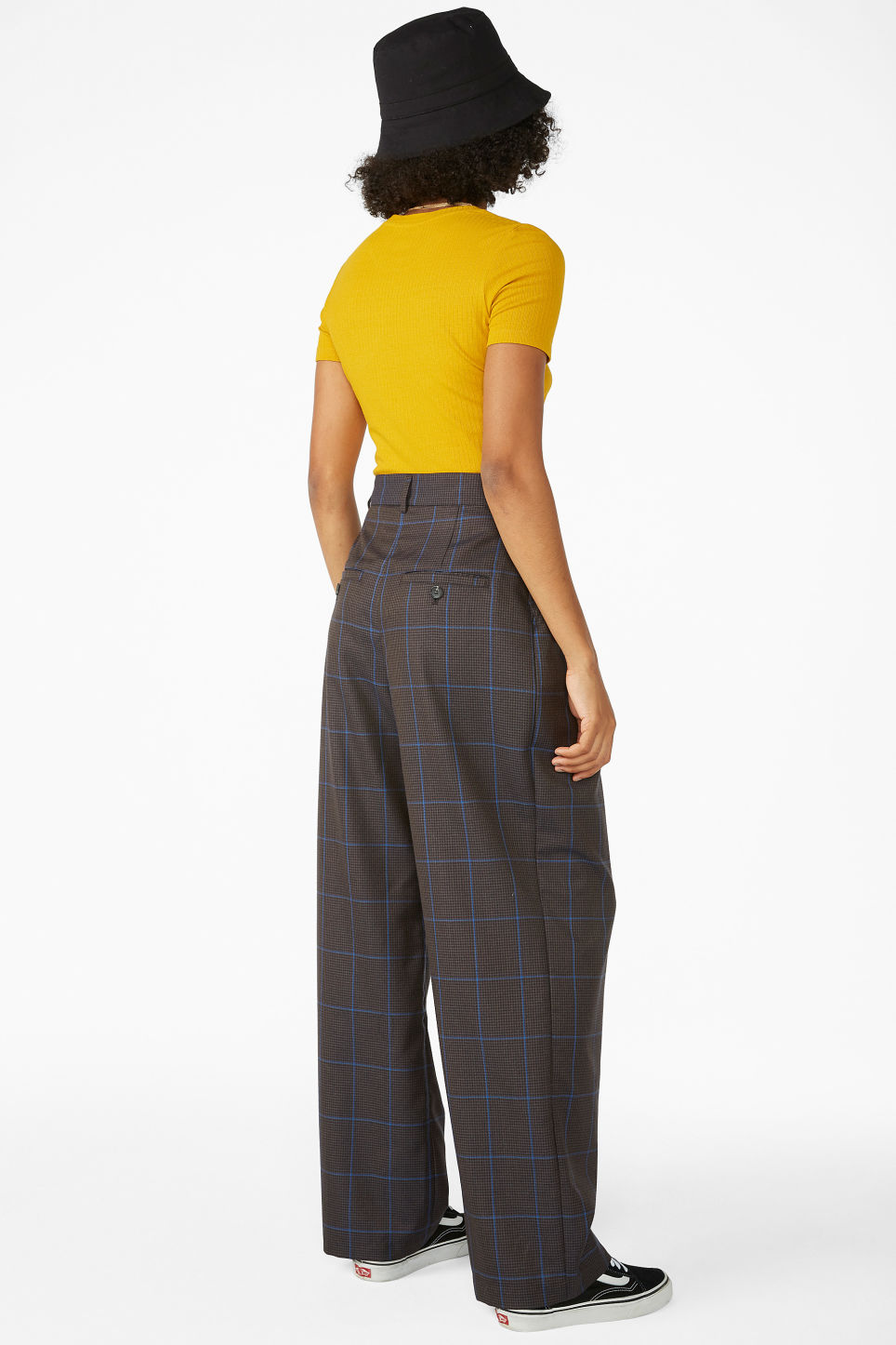 Model back image of Monki checked trousers in grey