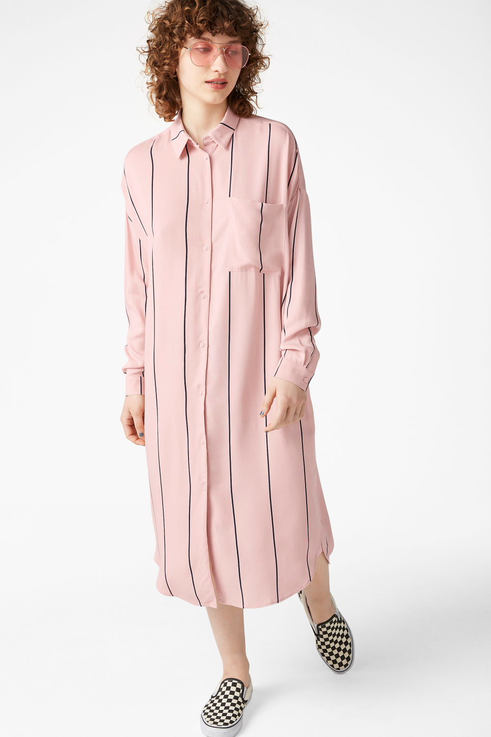 Model front image of Monki luxe viscose shirtdress in pink