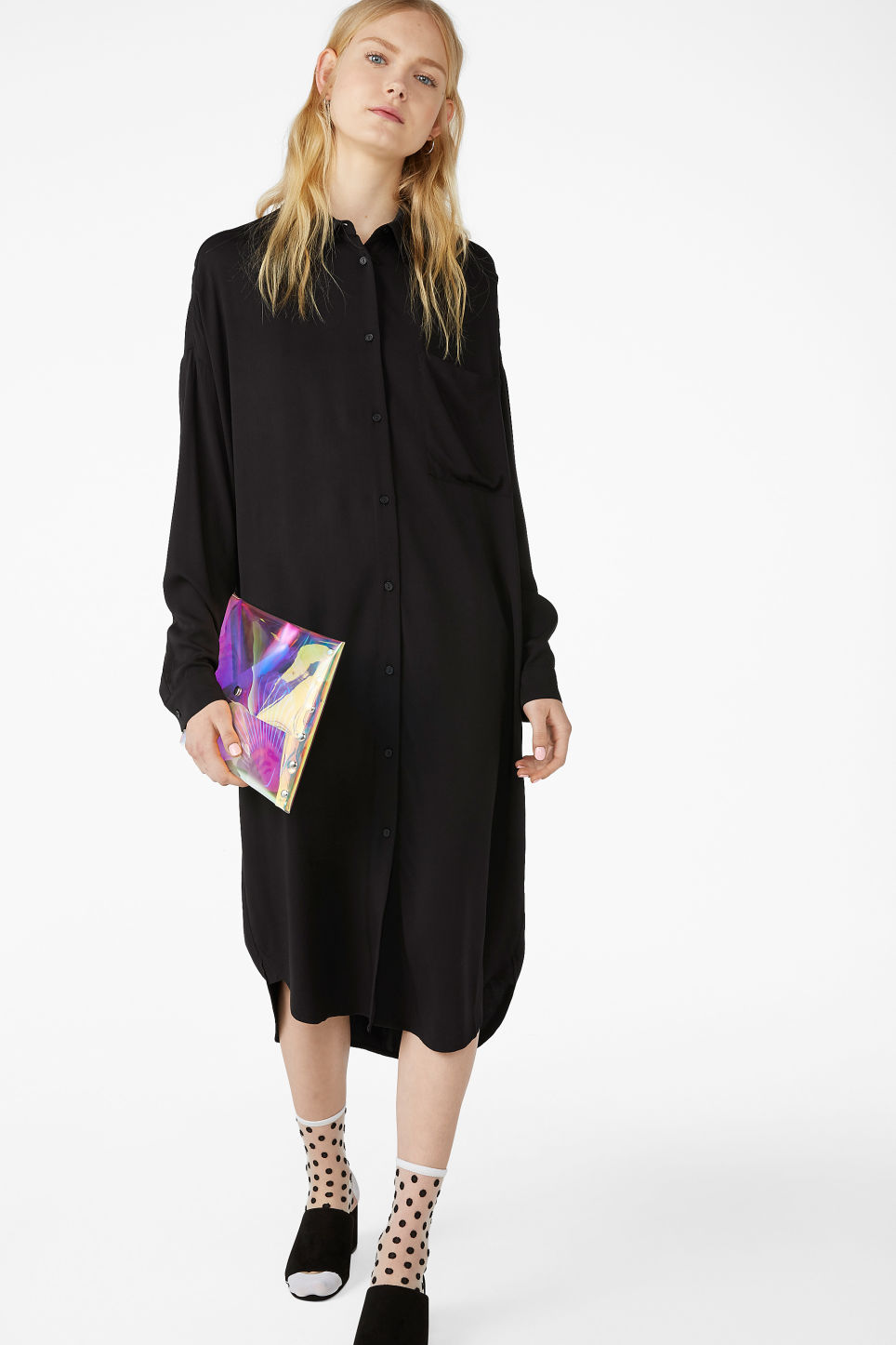 Model front image of Monki luxe viscose shirtdress in black