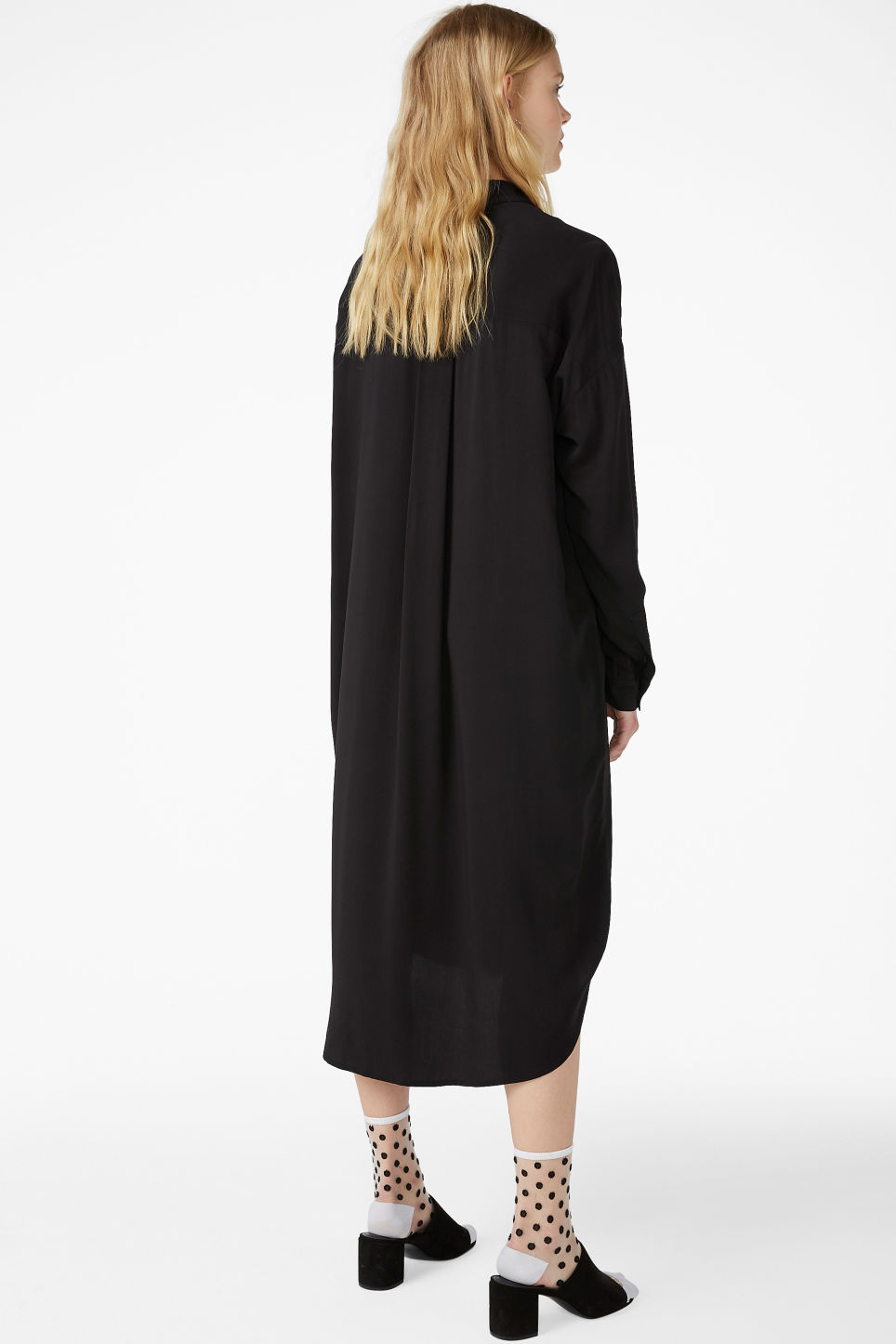 Model back image of Monki luxe viscose shirtdress in black