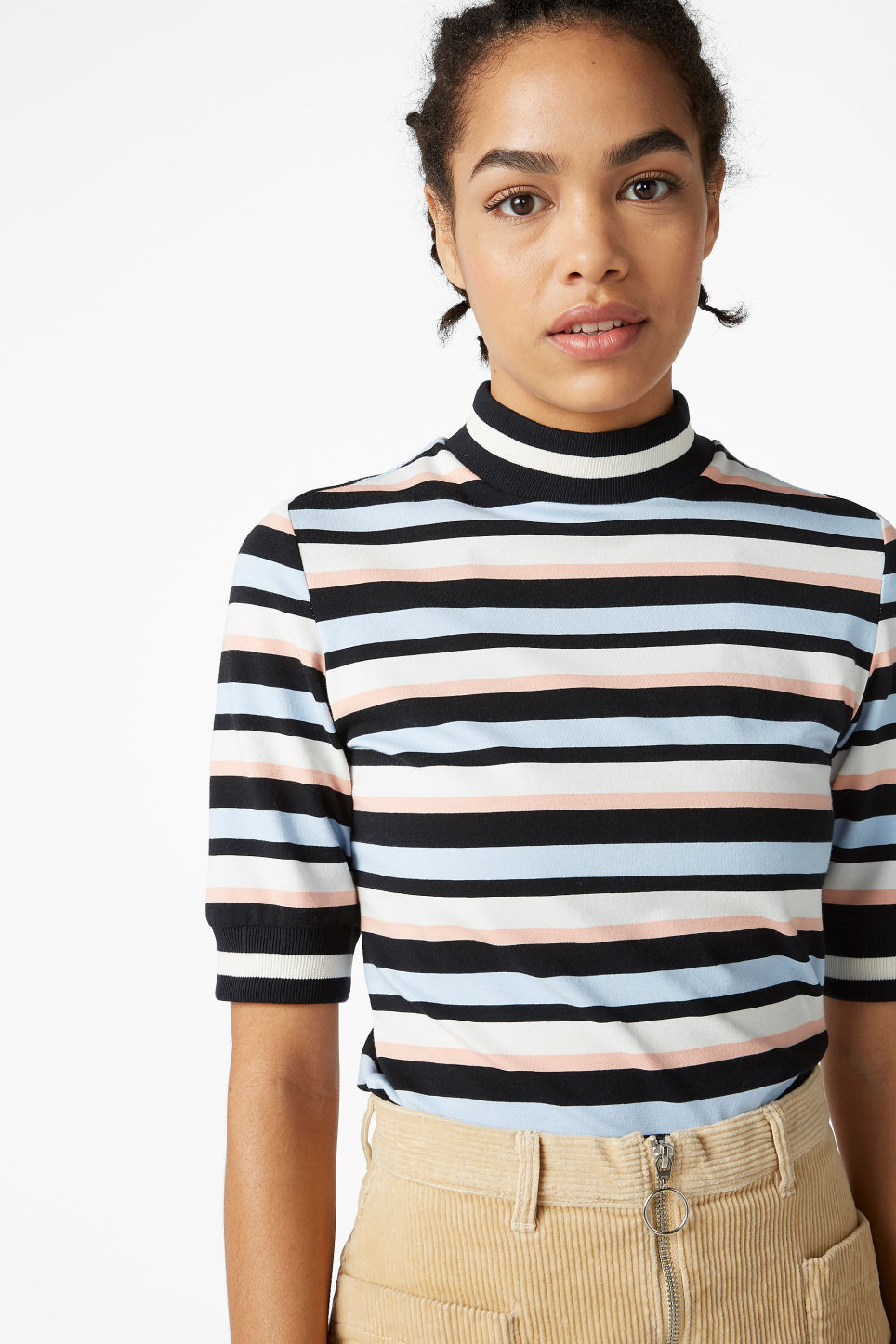 Model front image of Monki turtleneck top in black
