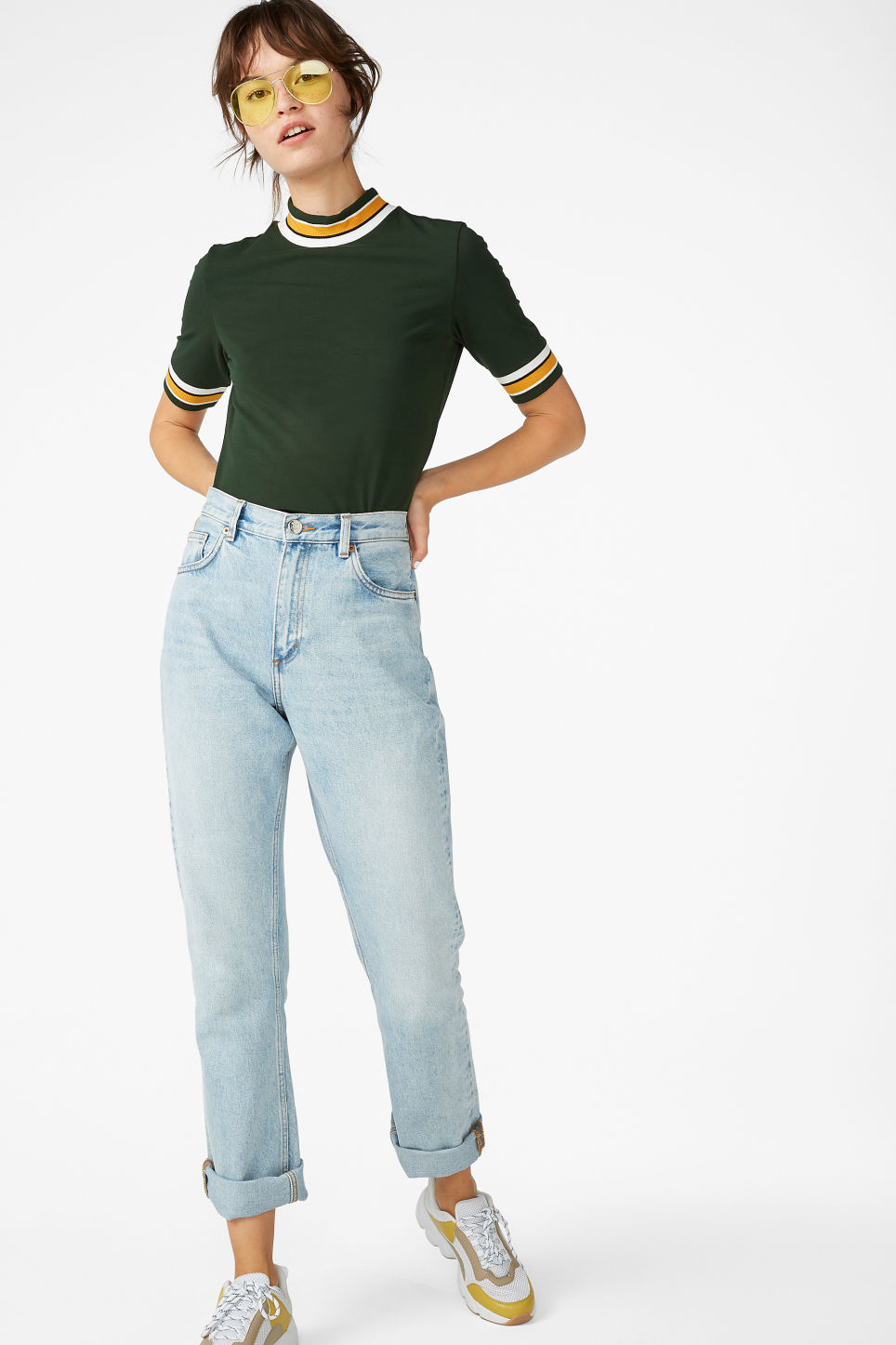 Model front image of Monki turtleneck top in green