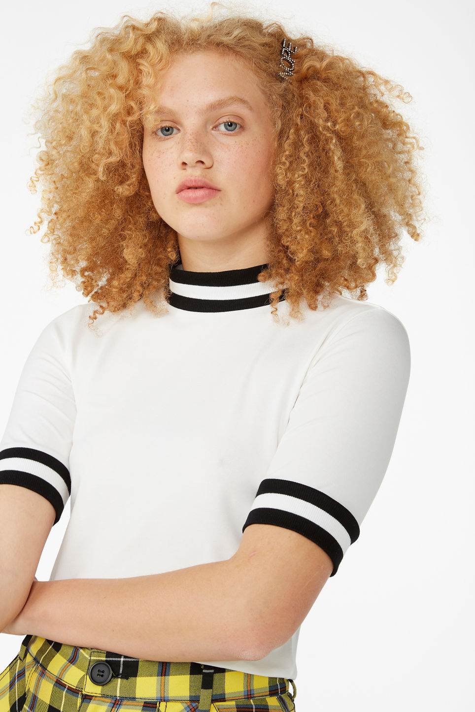 Model front image of Monki turtleneck top in white