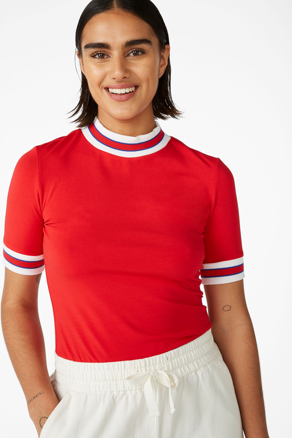 Model front image of Monki turtleneck top in red
