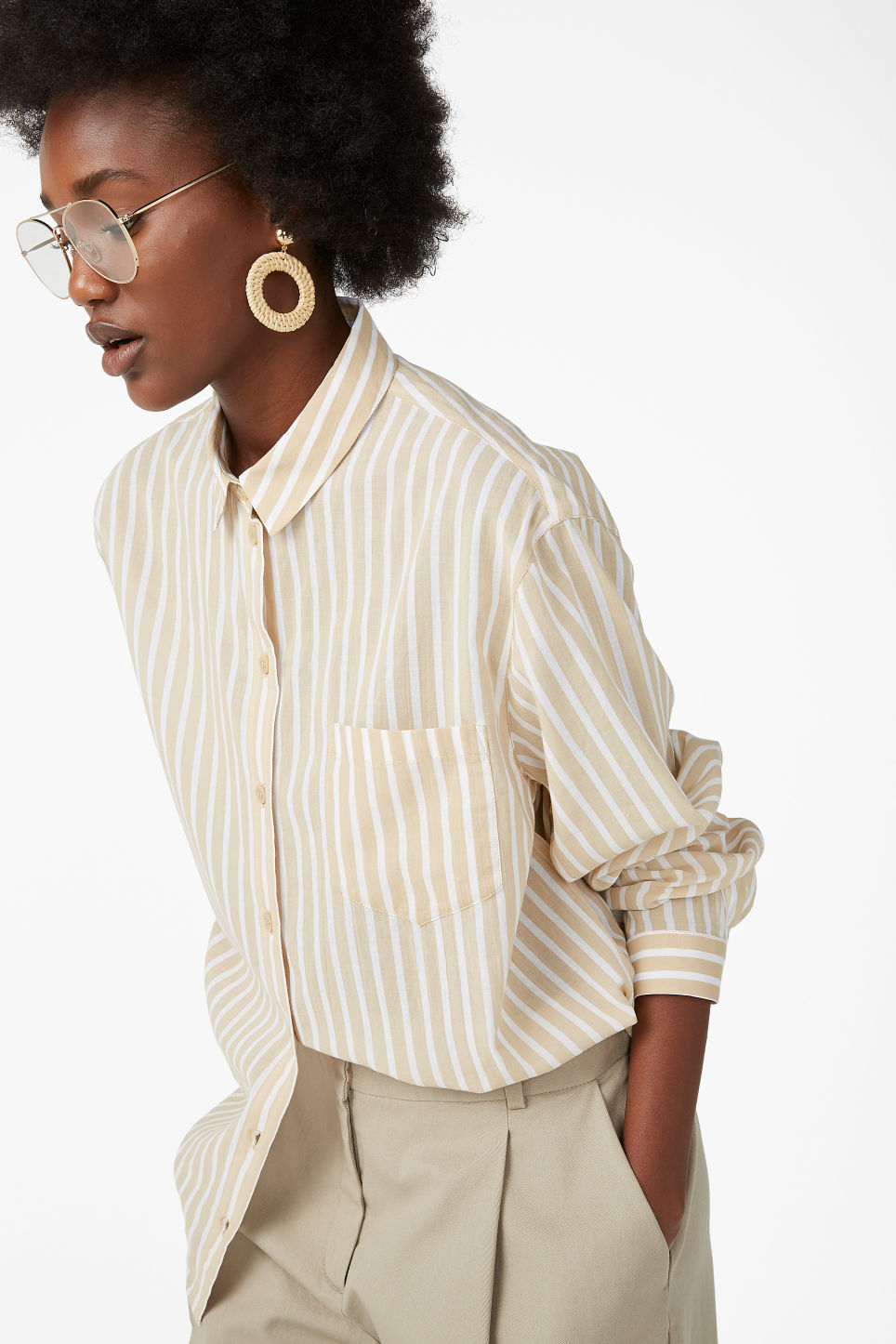 Model front image of Monki soft shirt in beige