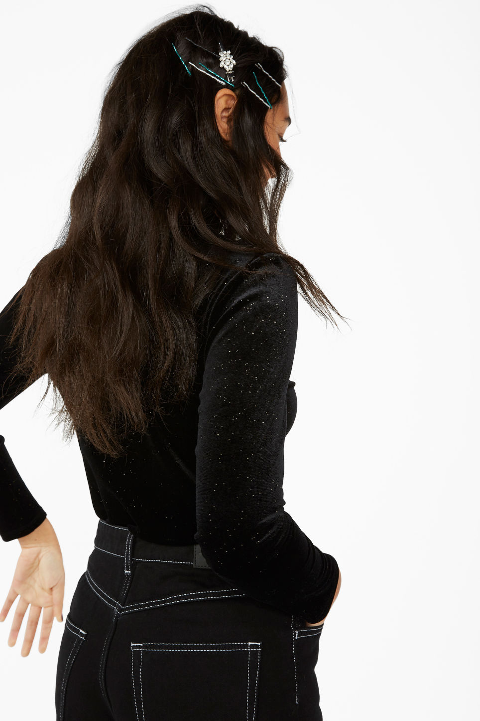 Model side image of Monki low turtleneck top in black