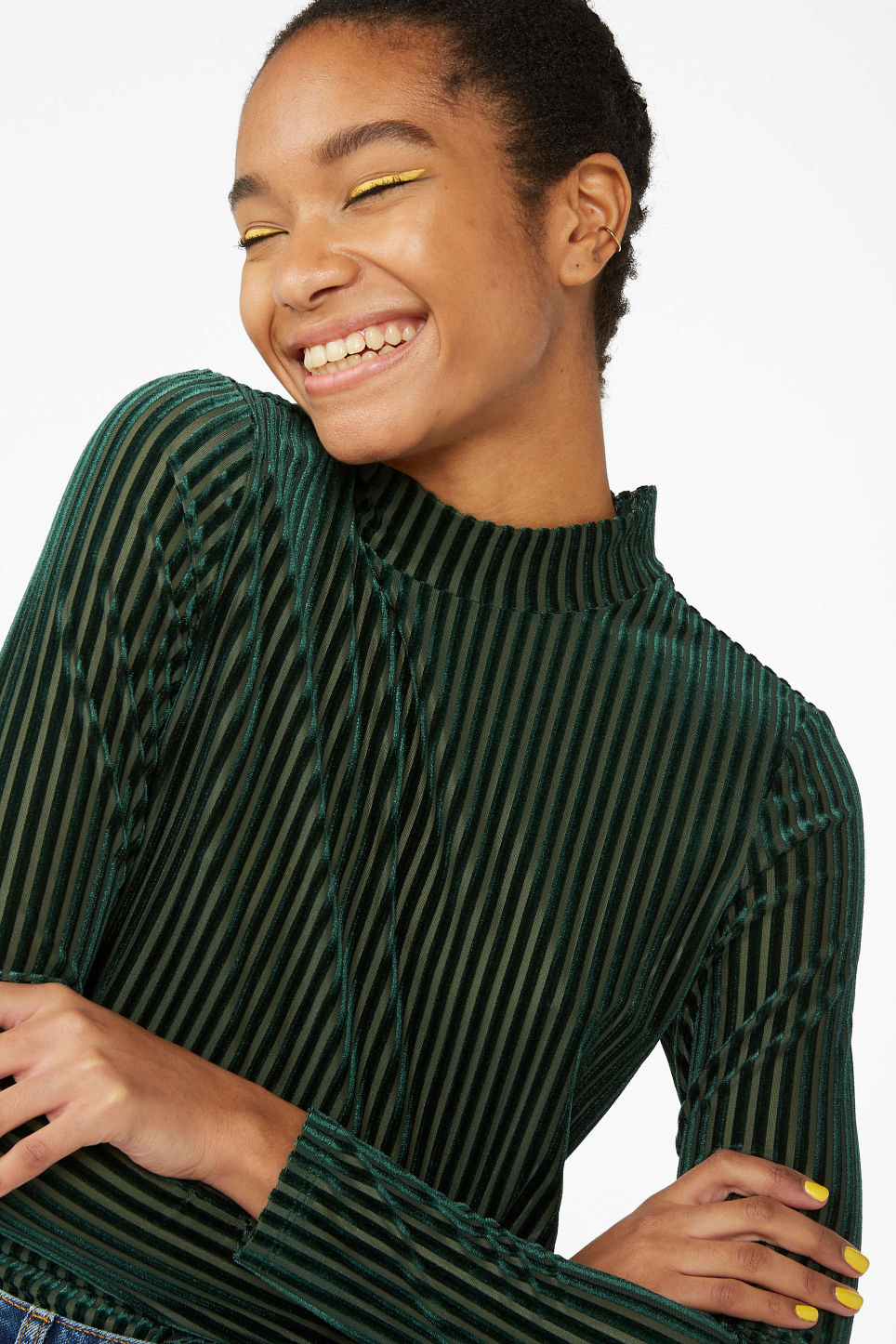 Model front image of Monki low turtleneck top in green