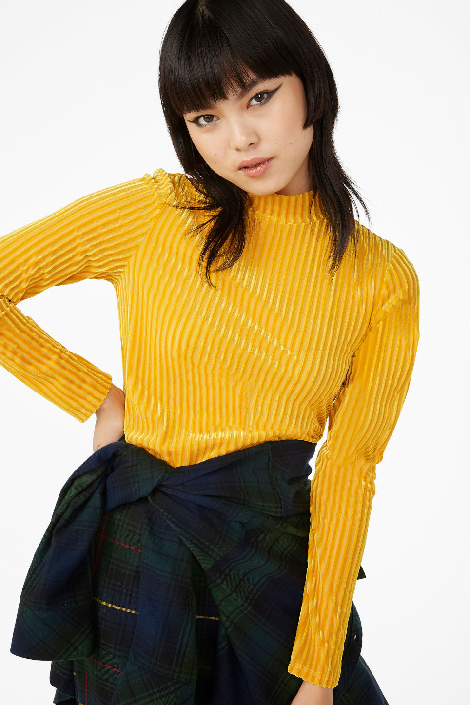 Model front image of Monki low turtleneck top in yellow