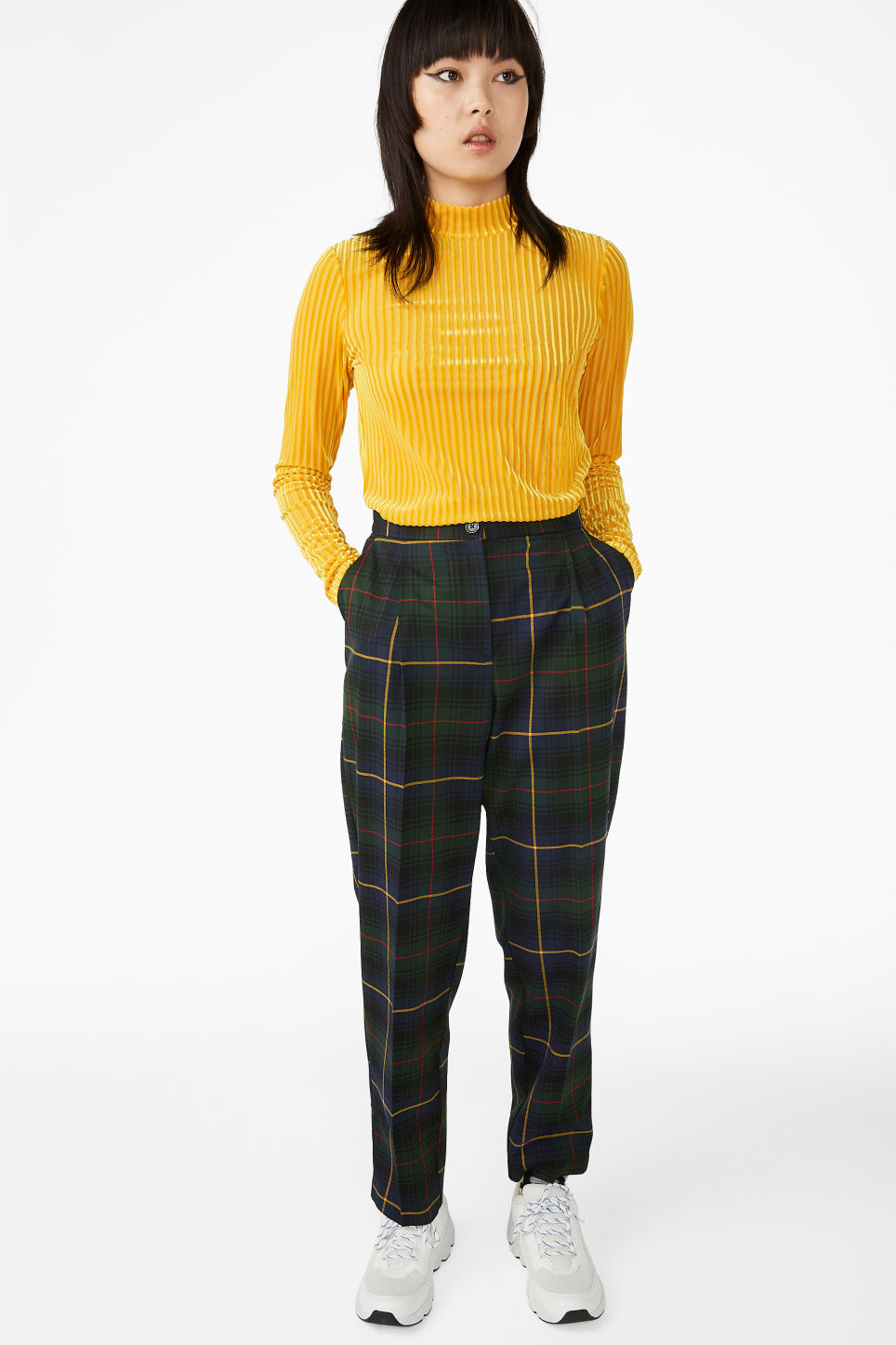 Model side image of Monki low turtleneck top in yellow