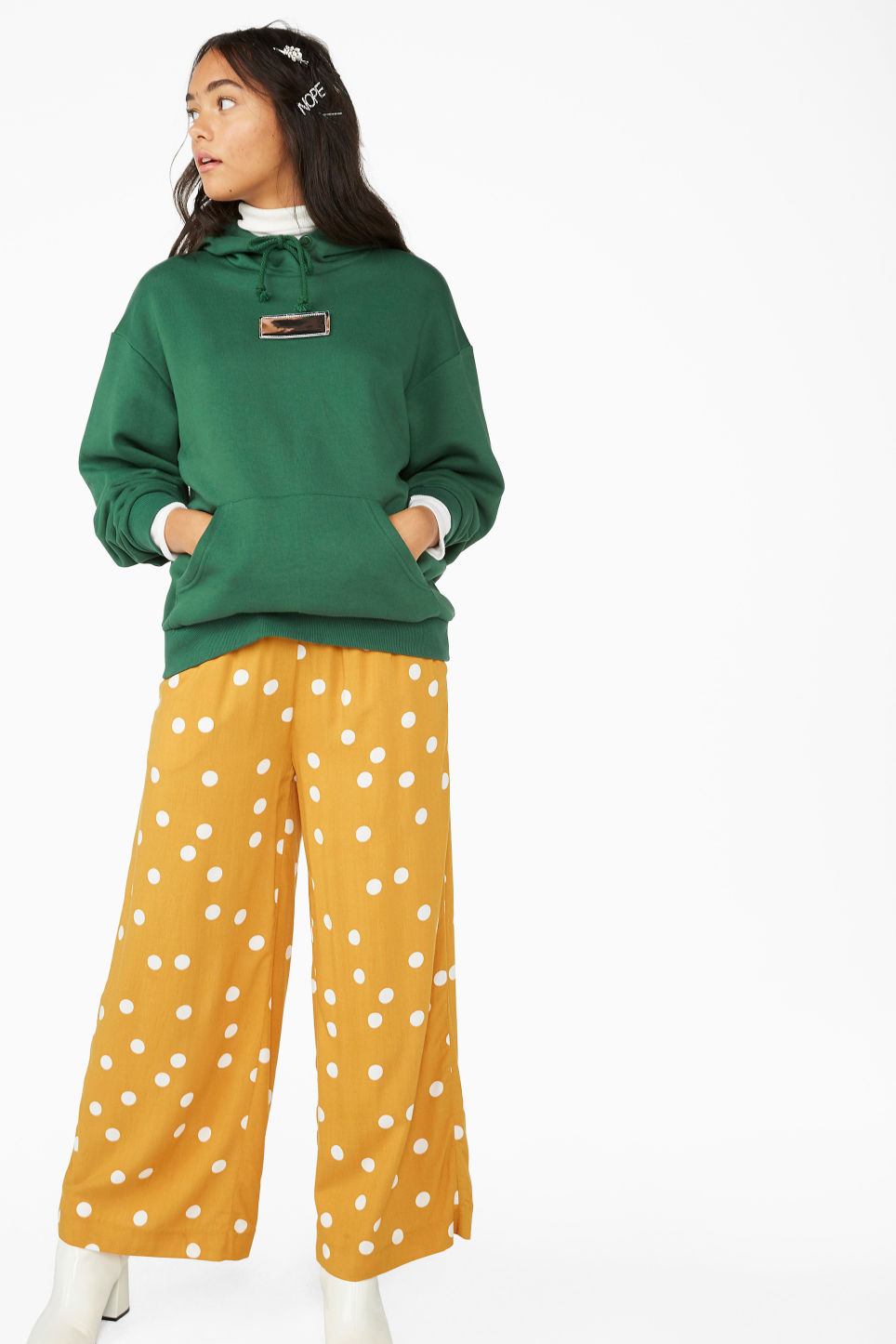 Model front image of Monki flowy trousers in yellow