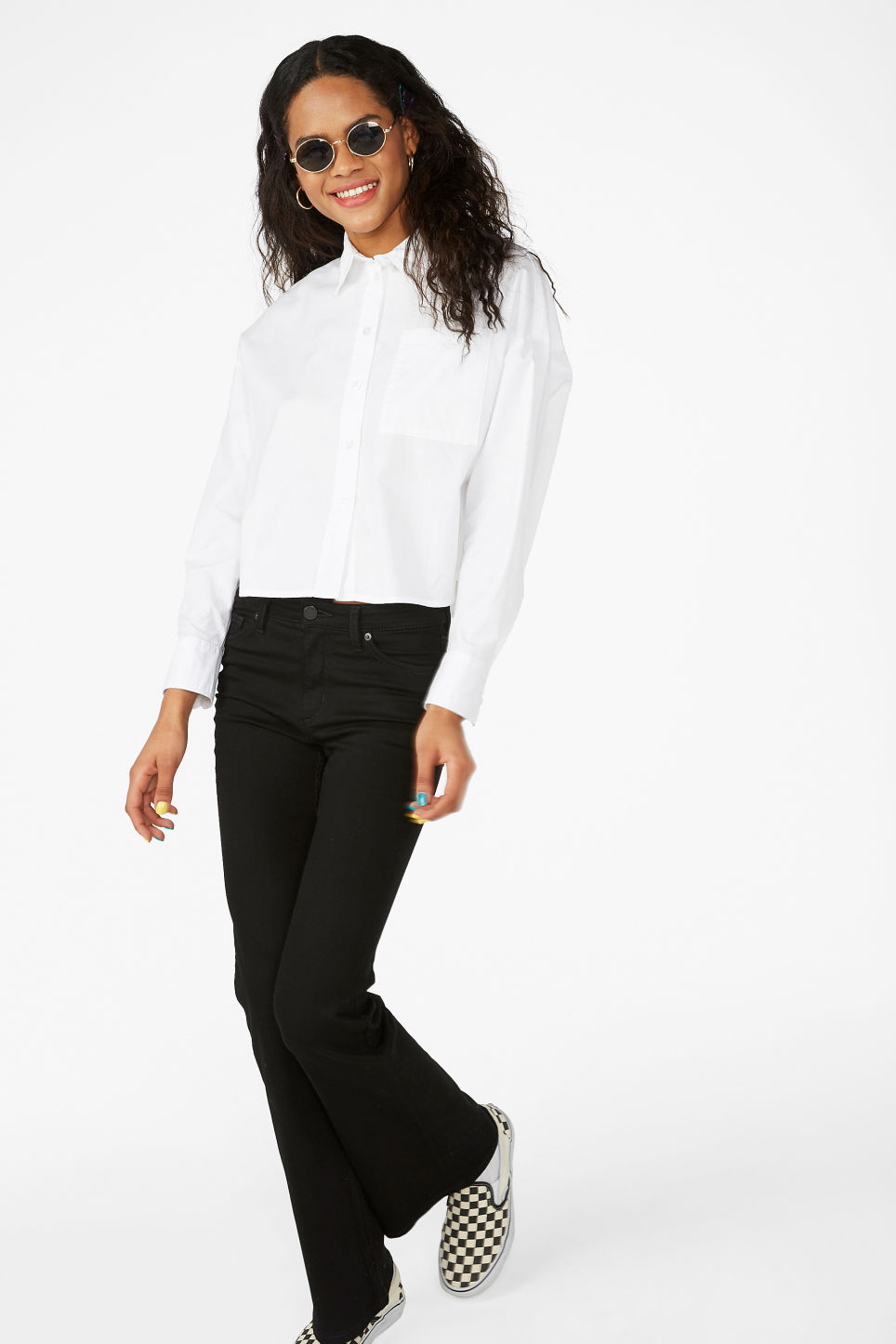 Model front image of Monki button-up shirt in white