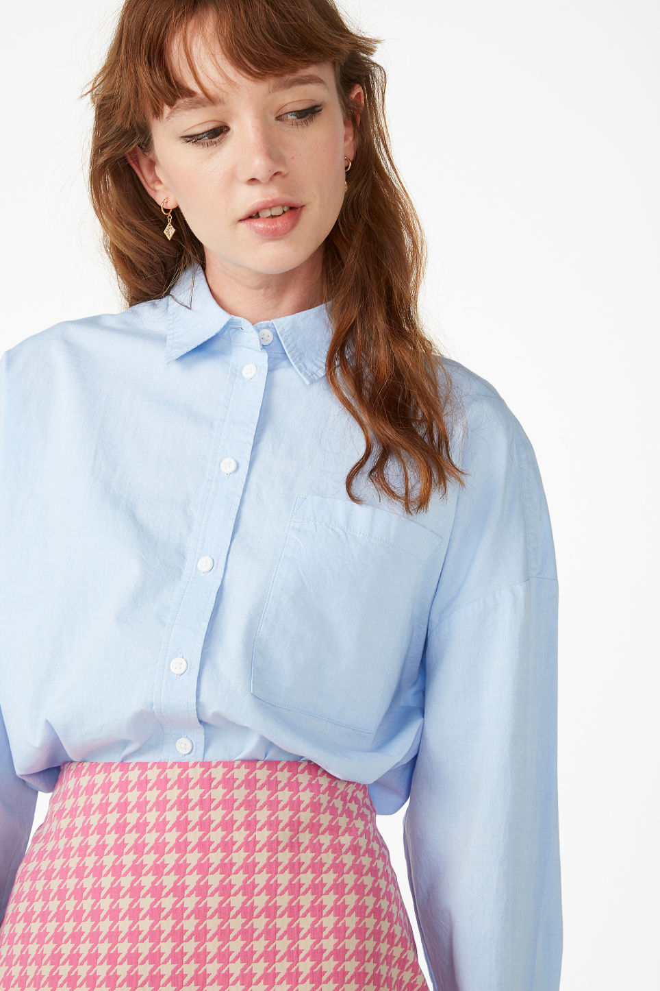 Model front image of Monki button-up shirt in blue