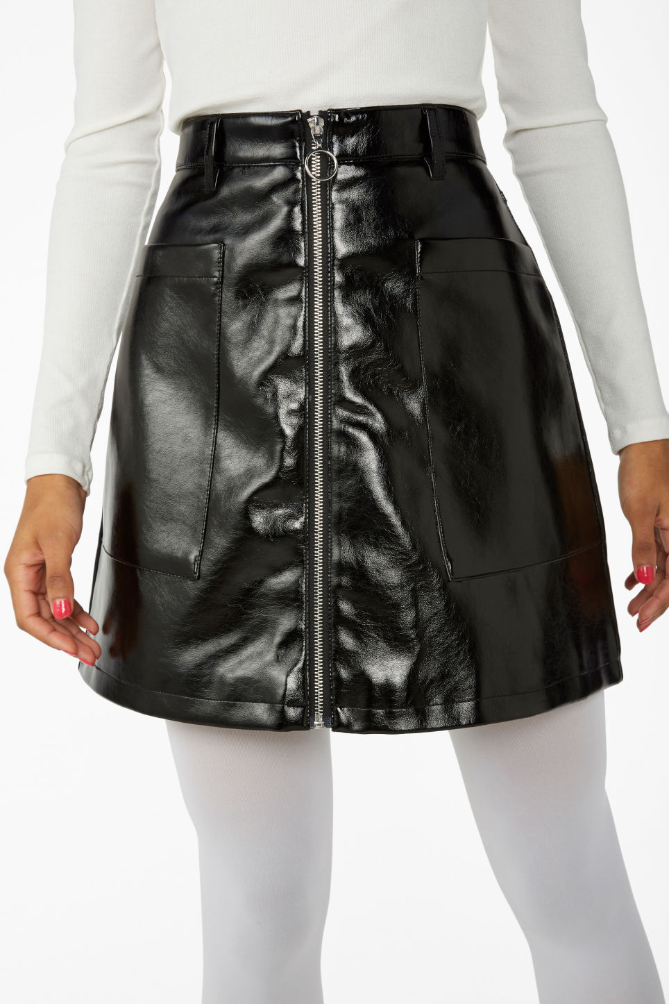 Model side image of Monki mini skirt in black