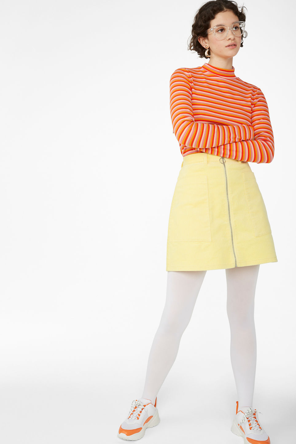 Model front image of Monki mini skirt in yellow