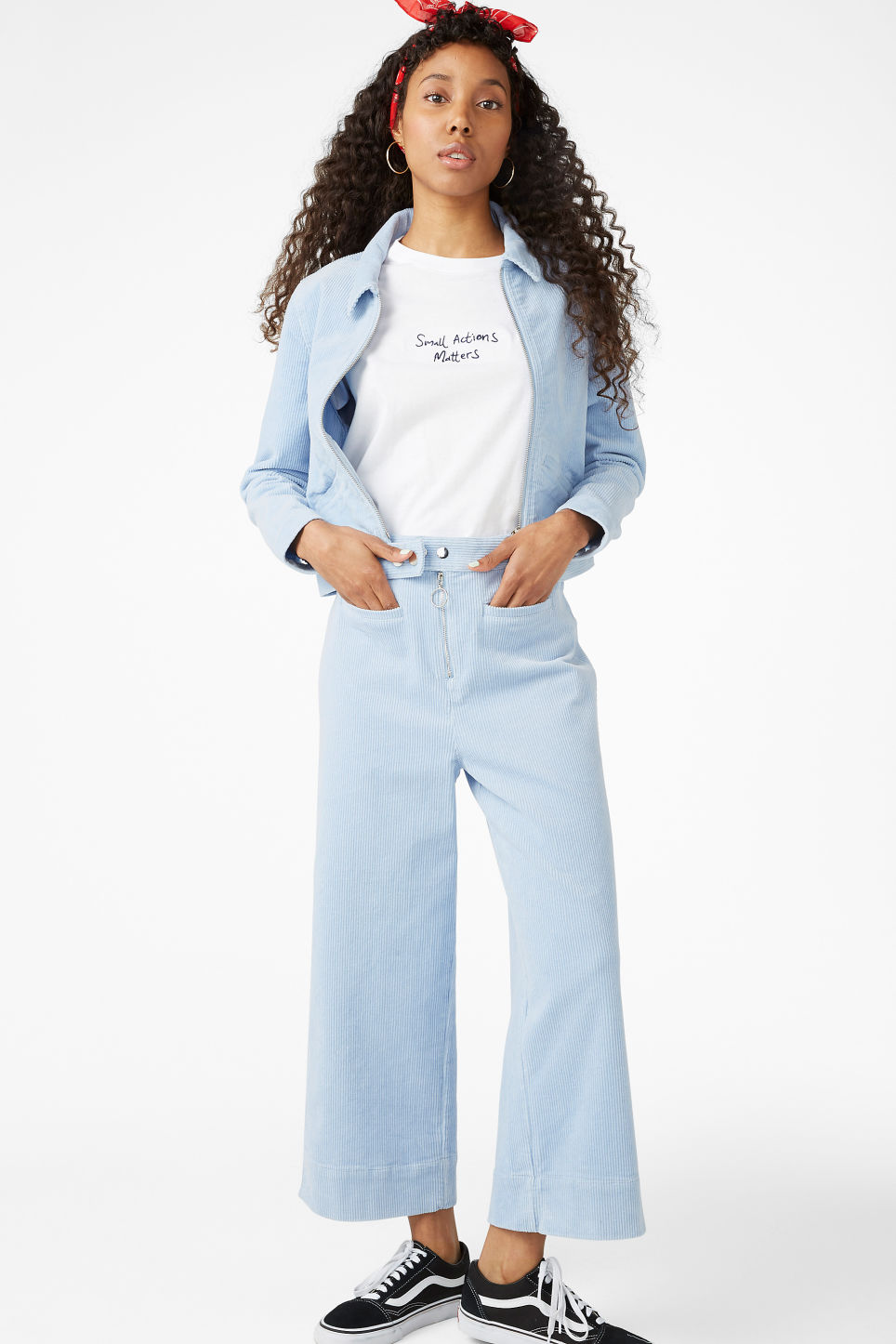 Model front image of Monki dressy trousers in blue