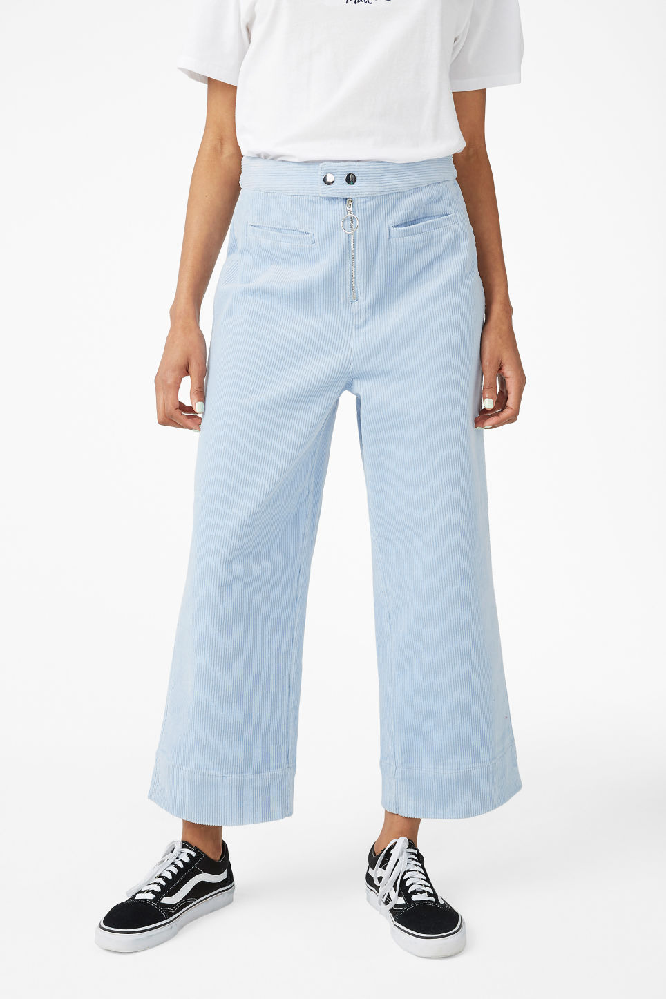 Model side image of Monki dressy trousers in blue