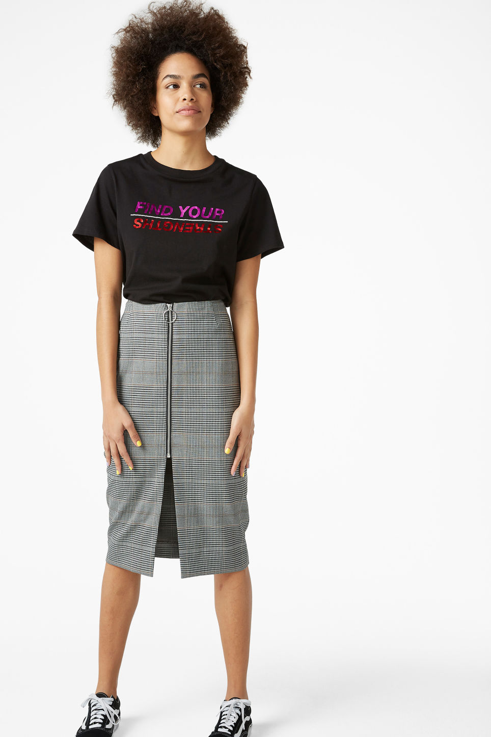 Model front image of Monki high waist skirt in grey
