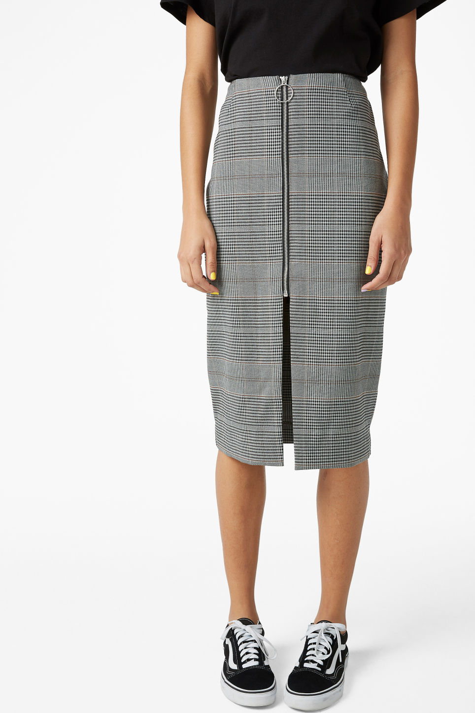 Model side image of Monki high waist skirt in grey