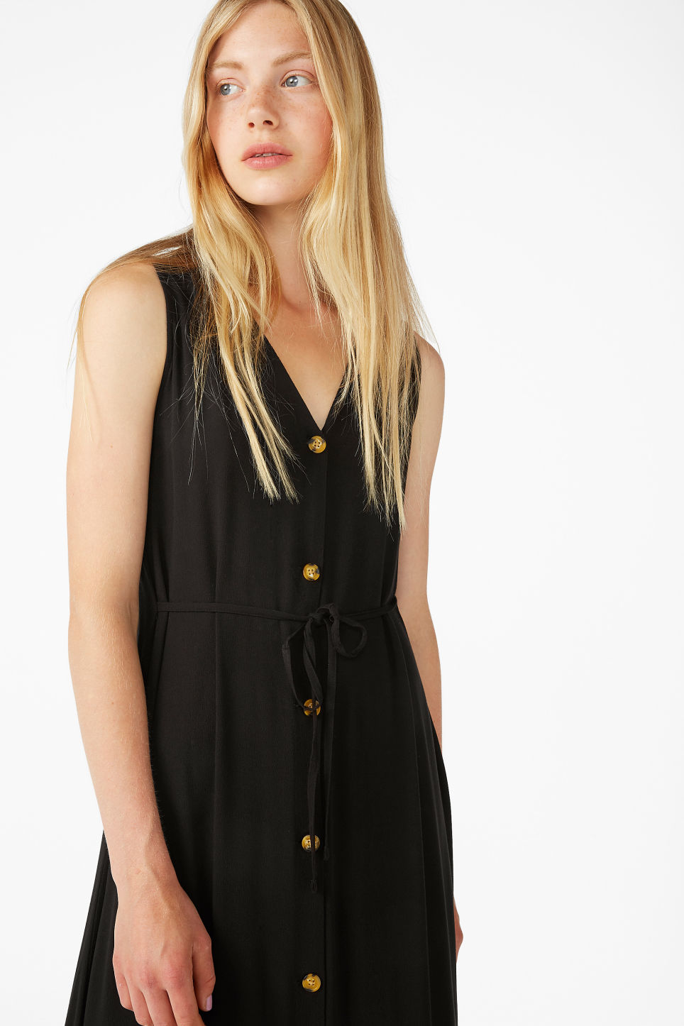 Model front image of Monki flowy sleeveless dress in black