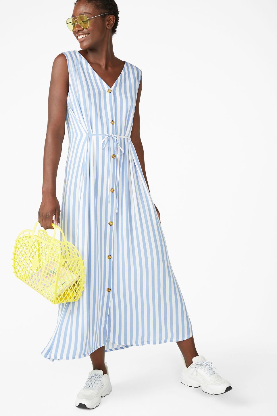 Model front image of Monki flowy sleeveless dress in white
