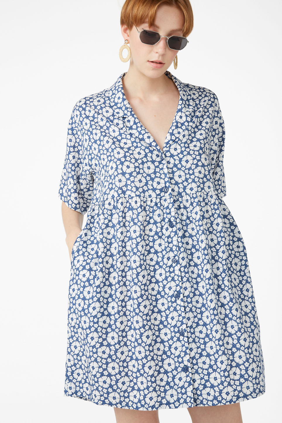 Model front image of Monki v-neck shirt dress in blue