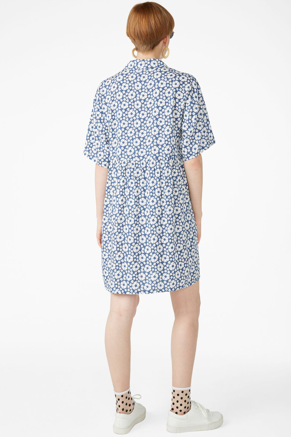 Model back image of Monki v-neck shirt dress in blue
