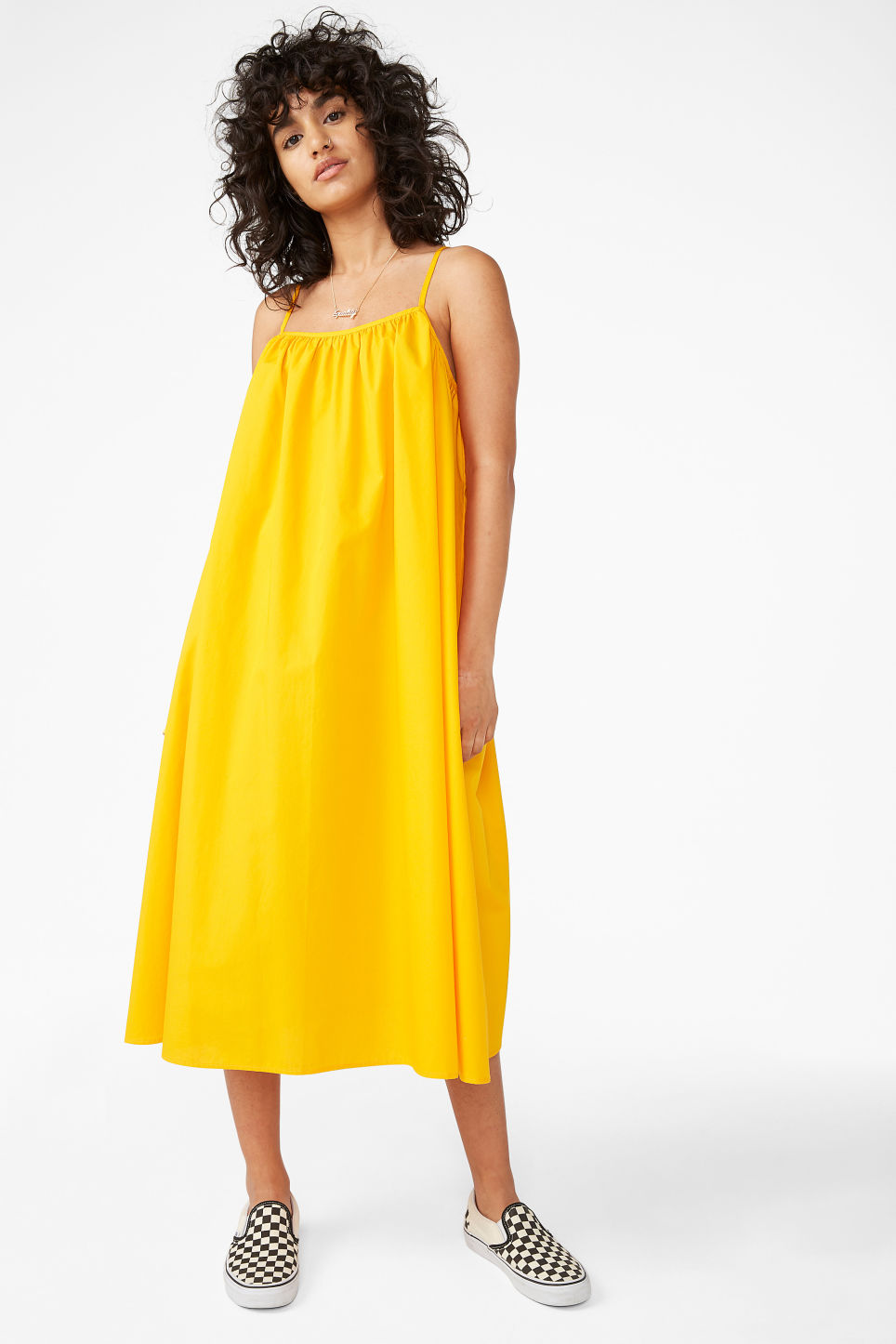 Model front image of Monki flowy dress in yellow