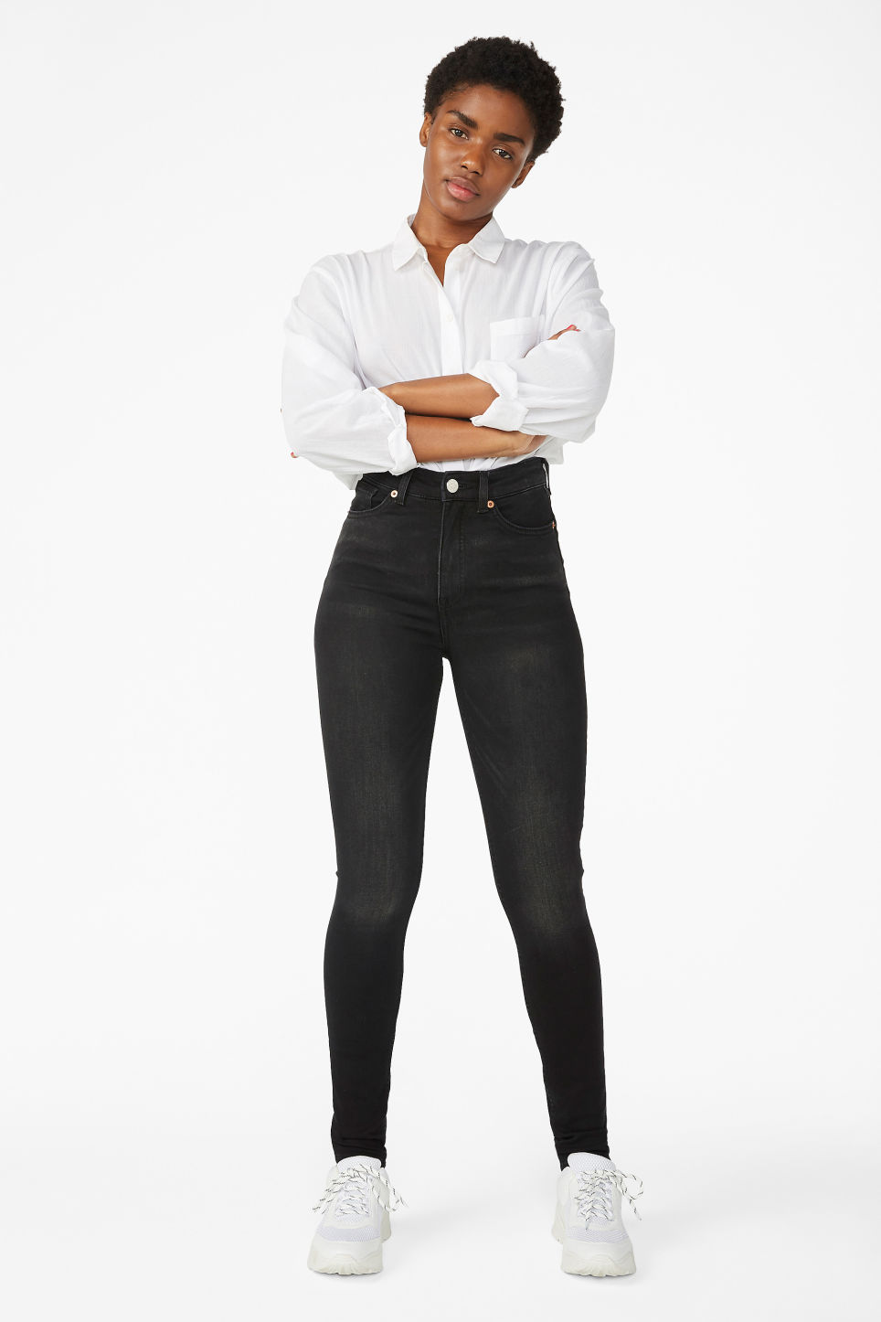 Model front image of Monki oki washed black jeans in black