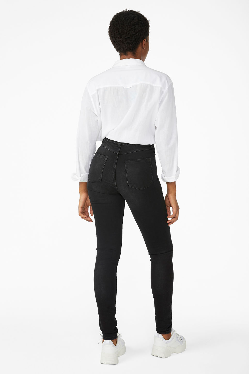 Model back image of Monki oki washed black jeans in black
