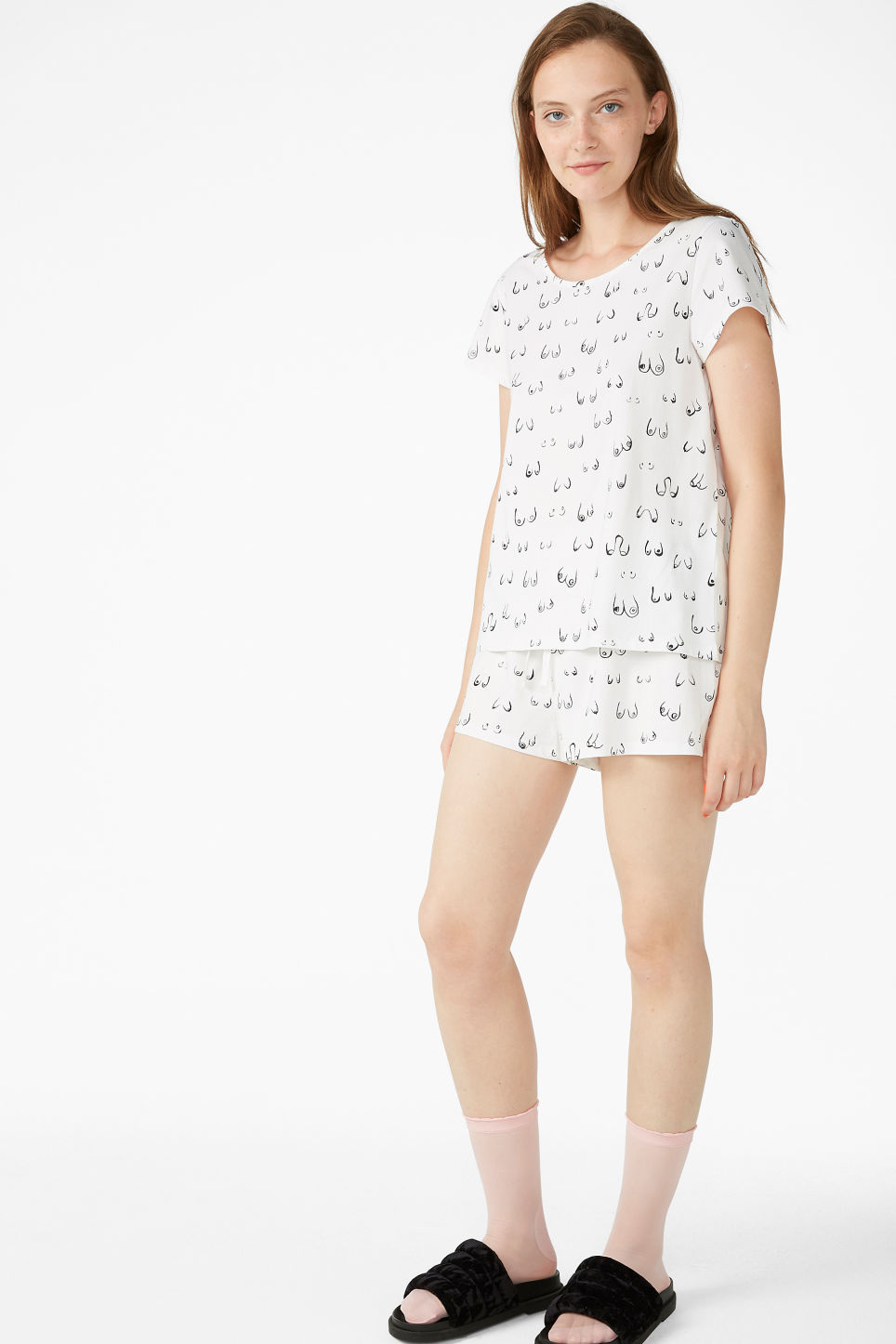 Model front image of Monki cosy pyjamas in white