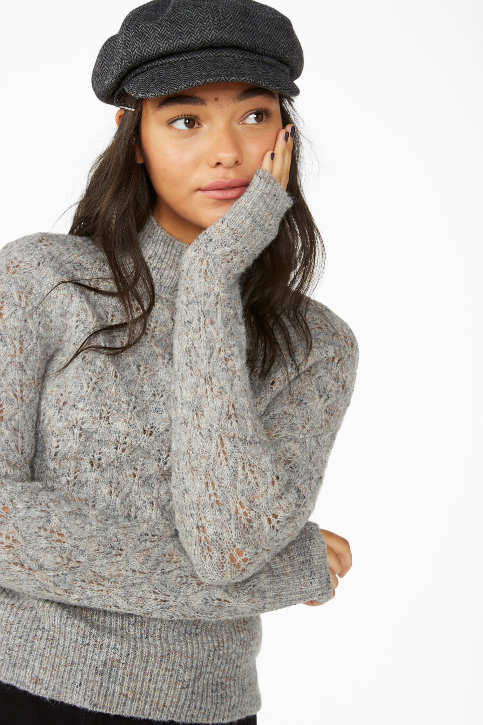 Model front image of Monki knitted turtleneck in grey