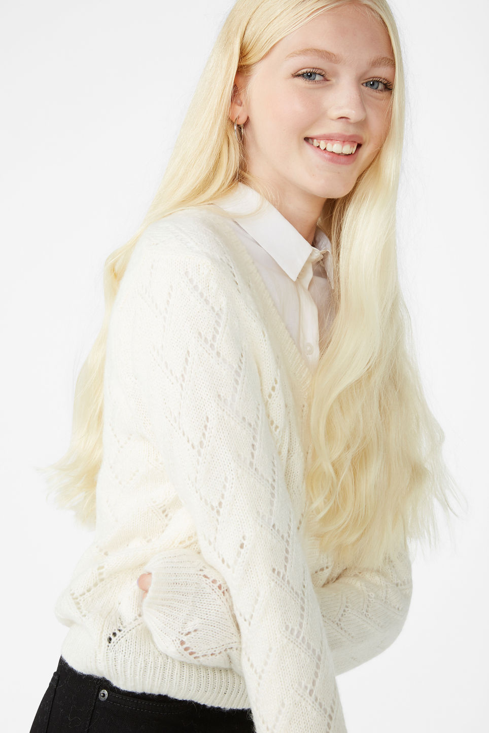 Model front image of Monki knitted cardigan in white