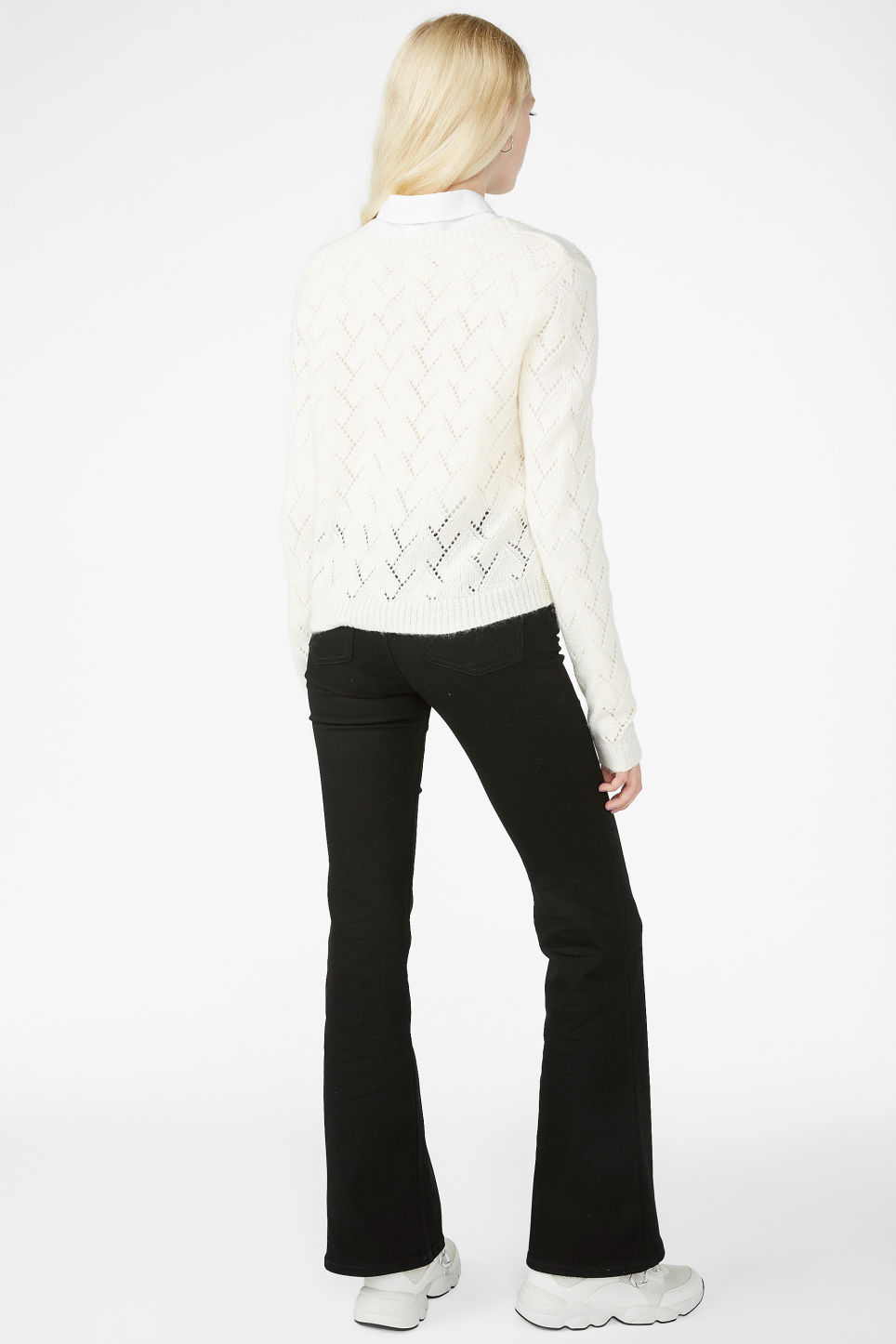 Model back image of Monki knitted cardigan in white